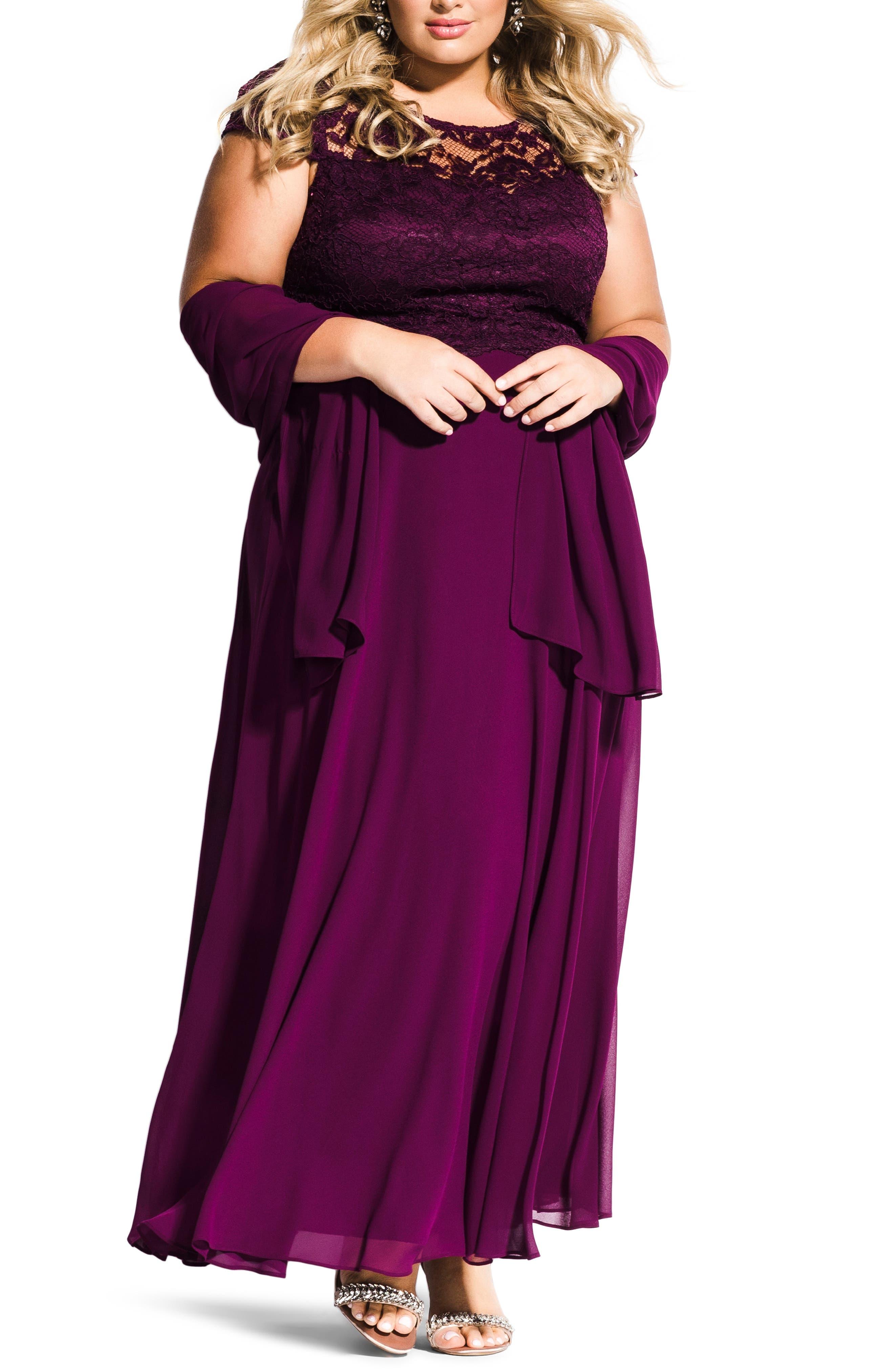 Plus Size City Chic Elegance Maxi Dress Set, Purple