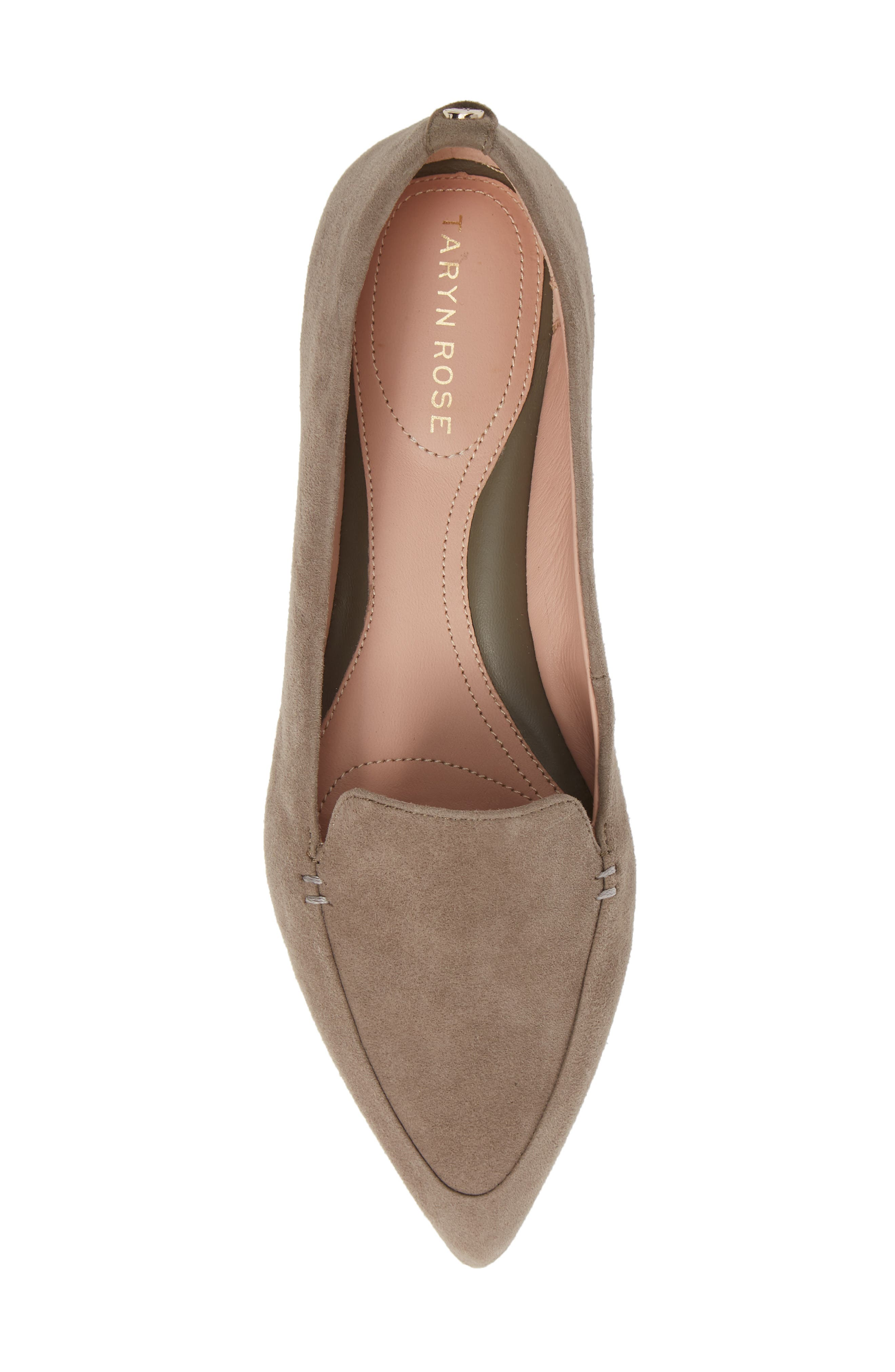 TARYN ROSE, Faye Pointy Toe Loafer, Alternate thumbnail 5, color, CLAY SUEDE