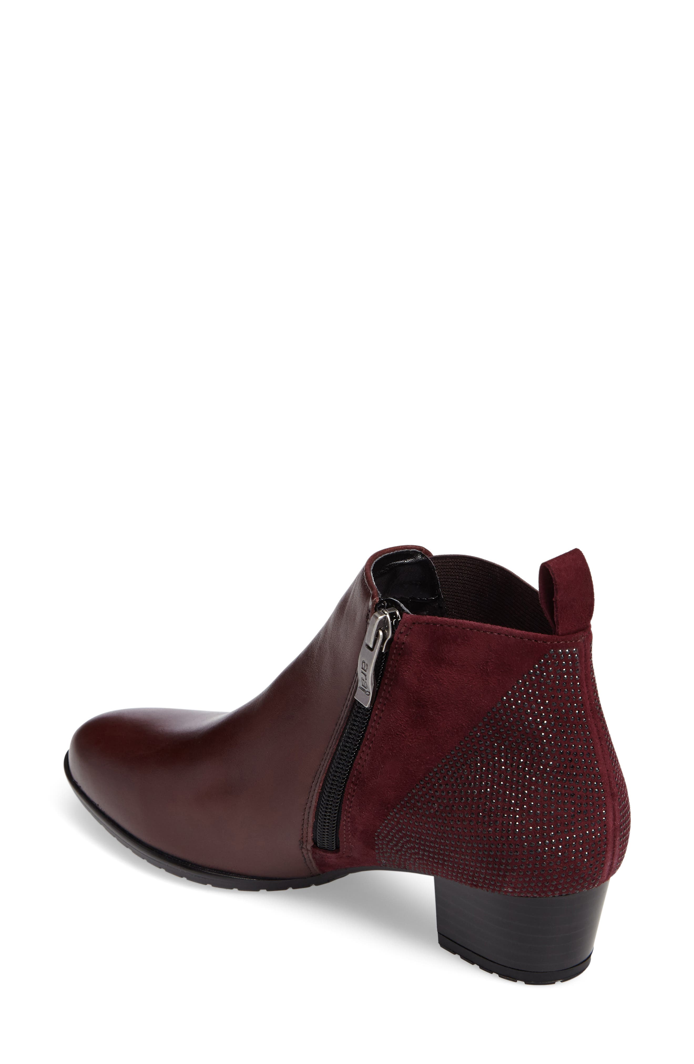 ARA, 'Patty' Block Heel Boot, Alternate thumbnail 2, color, BURGUNDY LEATHER