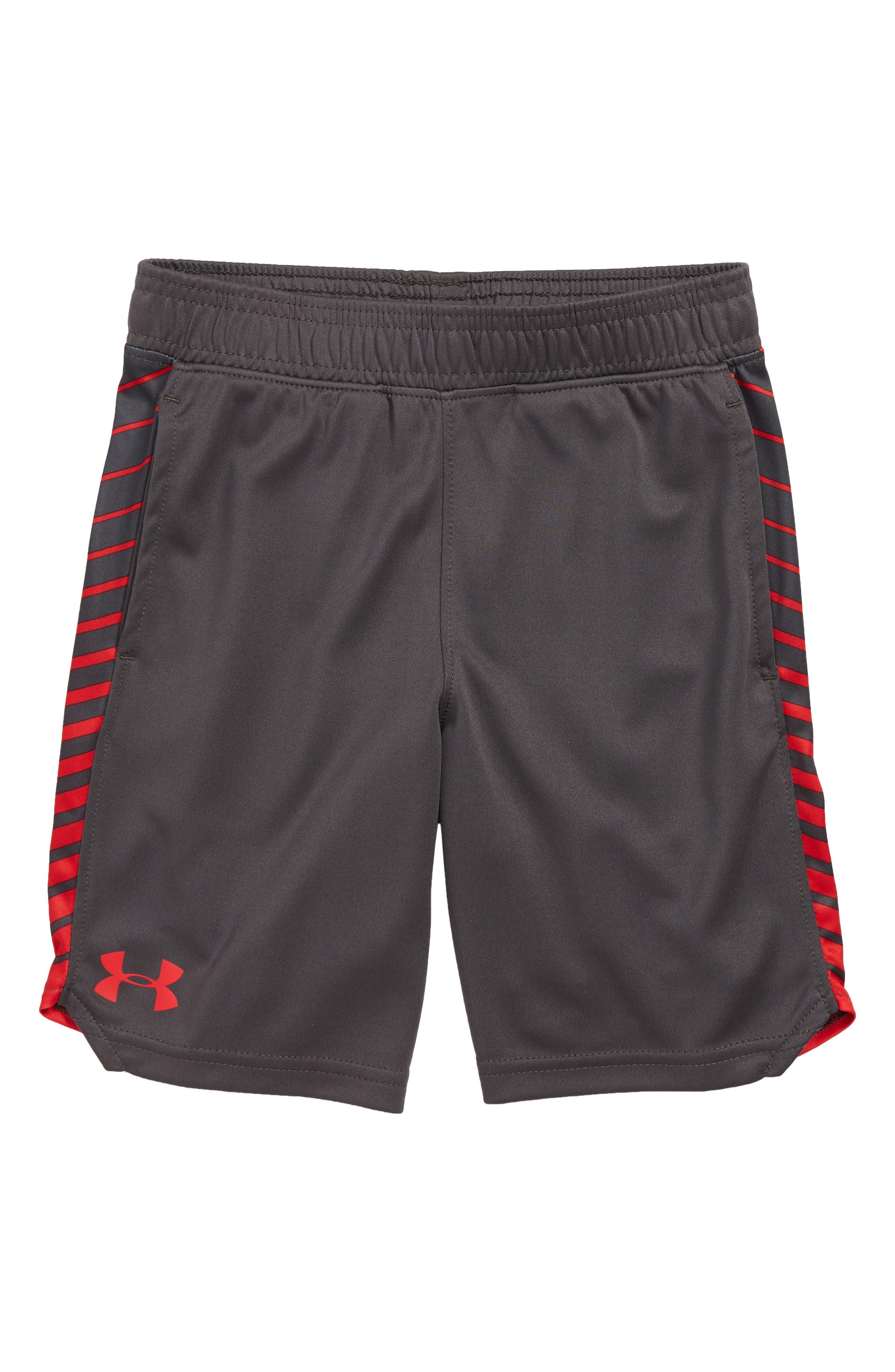 UNDER ARMOUR Half Back HeatGear<sup>®</sup> Shorts, Main, color, JET GRAY
