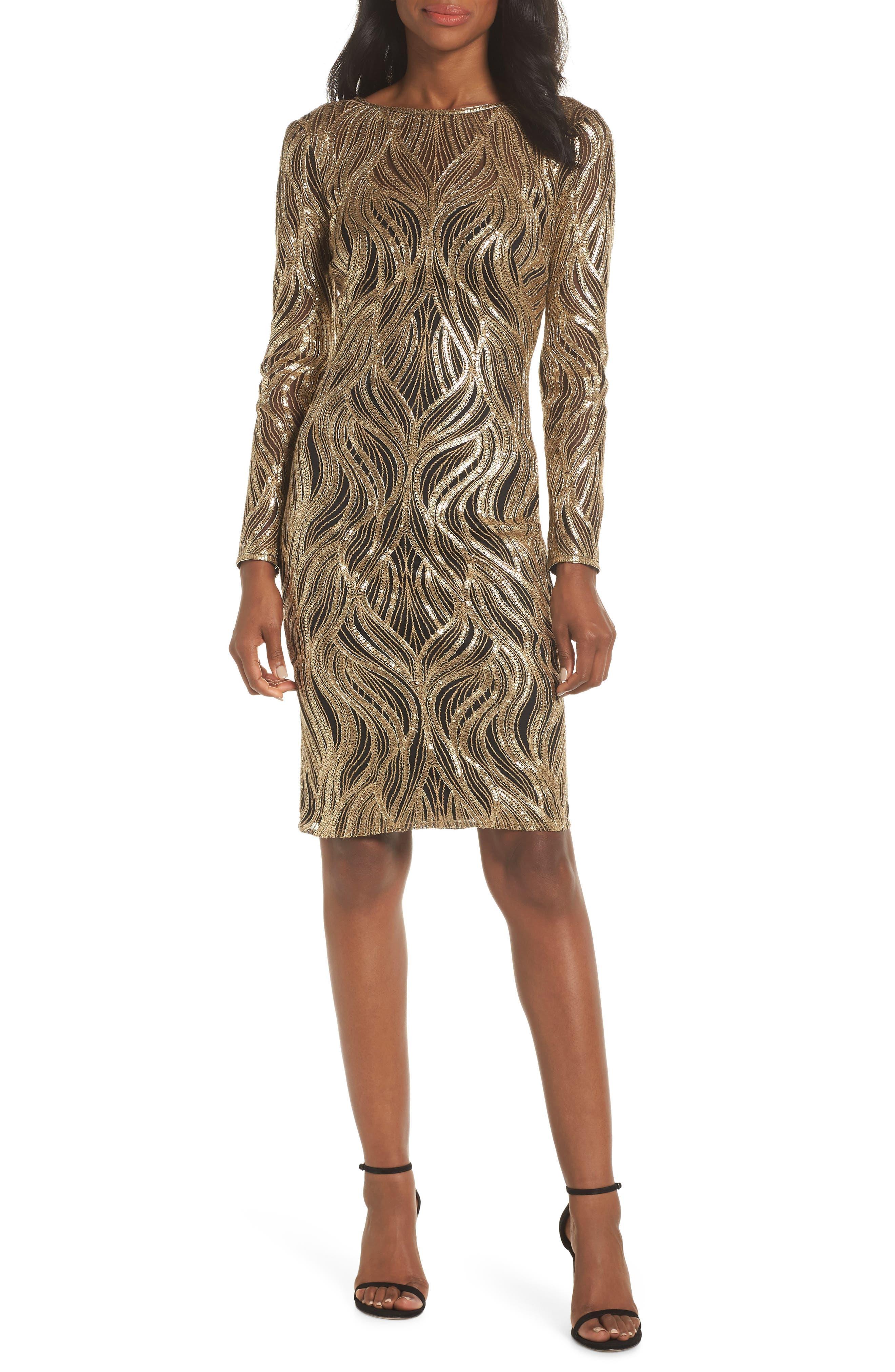 TADASHI SHOJI, Long Sleeve Sequin Mesh Cocktail Dress, Main thumbnail 1, color, GOLD/ BLACK