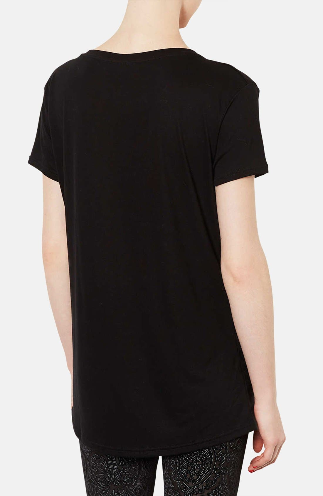 TOPSHOP, V-Neck Tee, Alternate thumbnail 3, color, 001