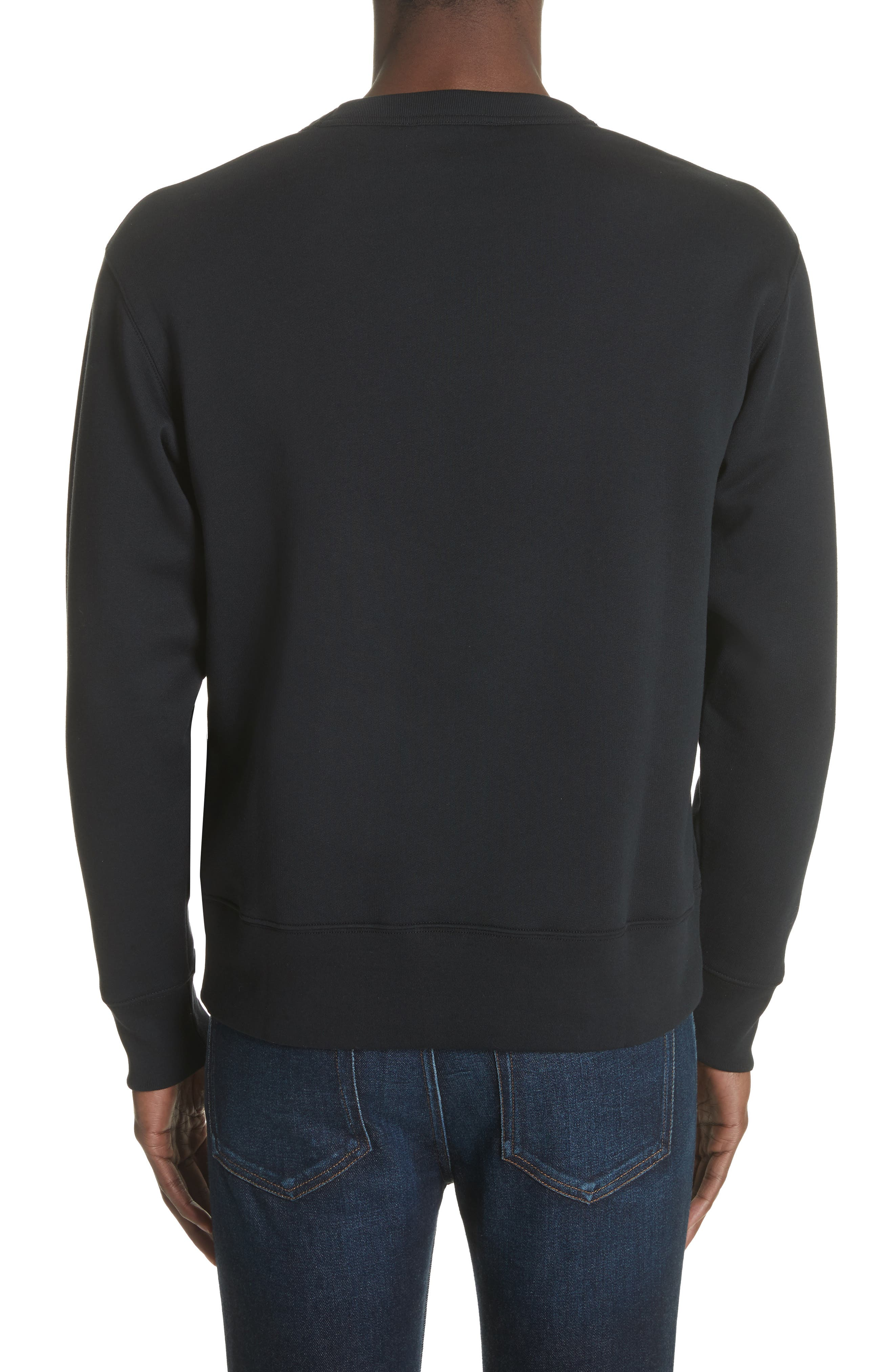 ACNE STUDIOS, Fairview Face Crewneck Sweatshirt, Alternate thumbnail 2, color, BLACK