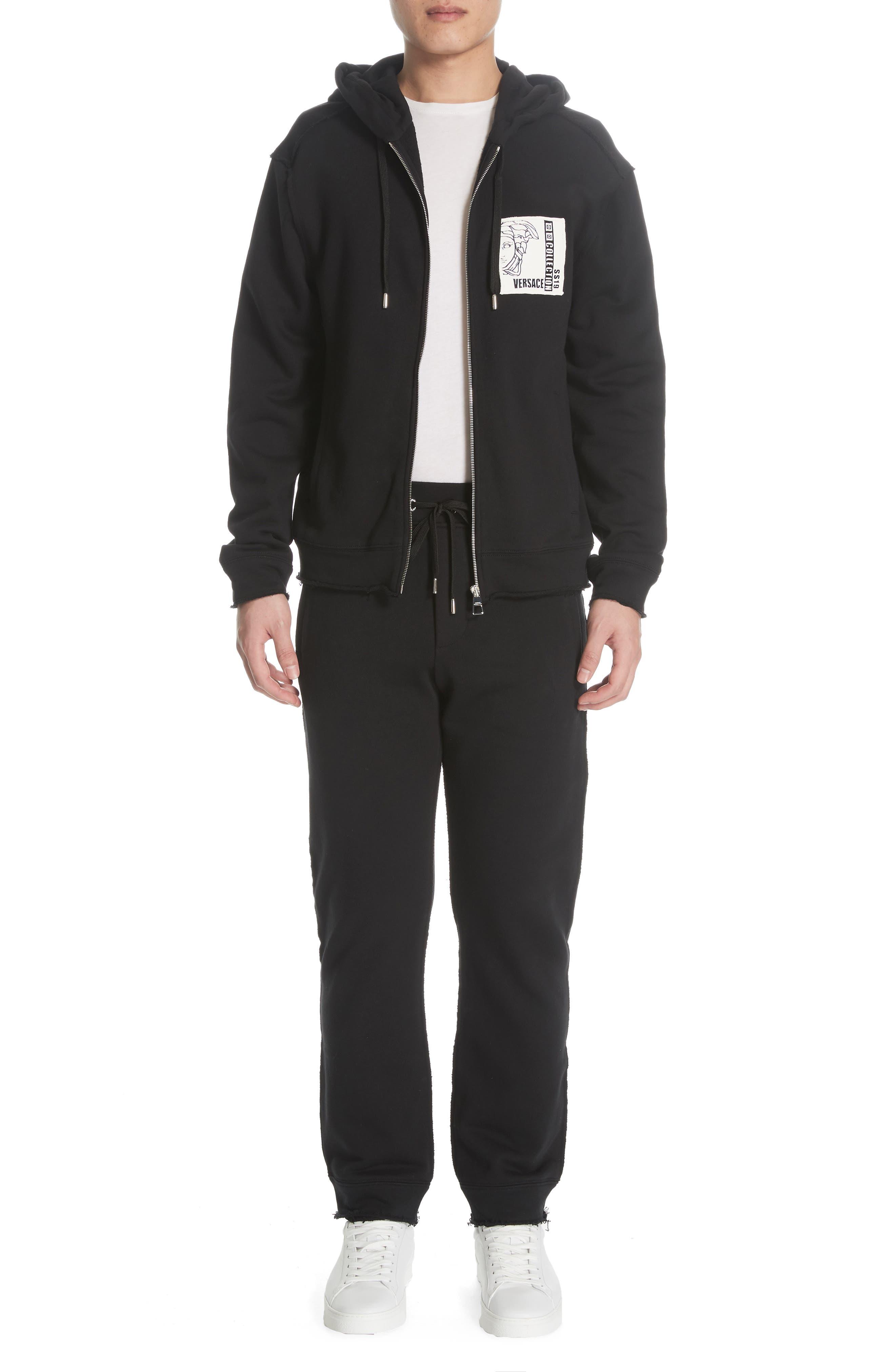 VERSACE COLLECTION, Zip Hoodie & Track Pants Set, Main thumbnail 1, color, BLACK