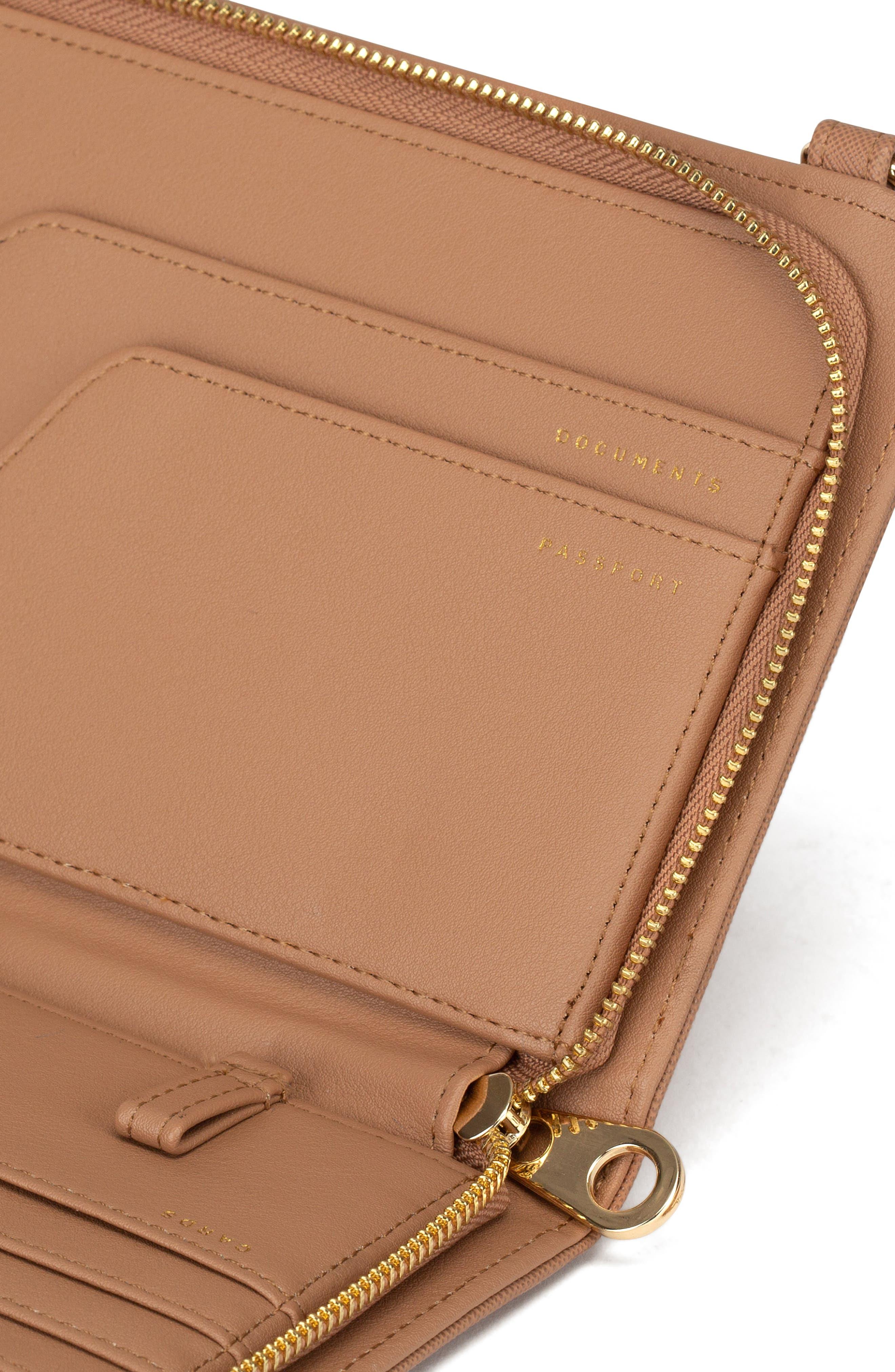 CALPAK, Faux Leather RFID Travel Wallet, Alternate thumbnail 2, color, CARAMEL
