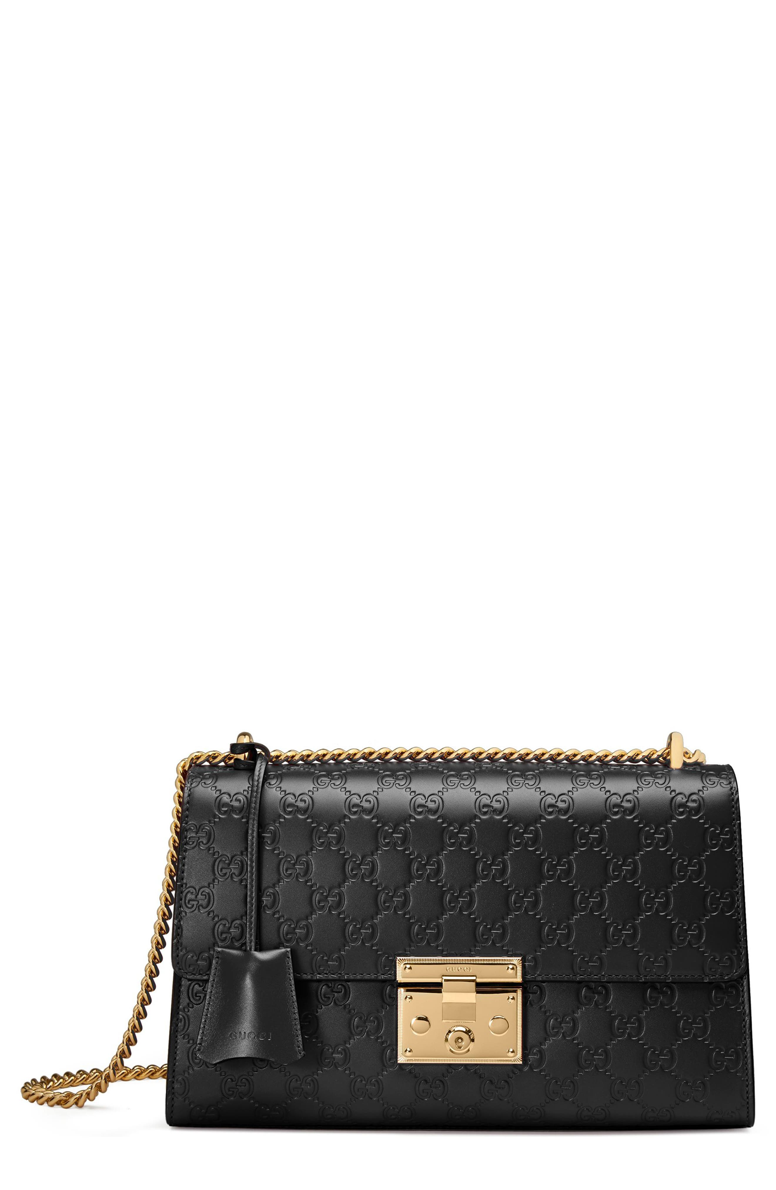 GUCCI, Medium Padlock Signature Leather Shoulder Bag, Main thumbnail 1, color, NERO