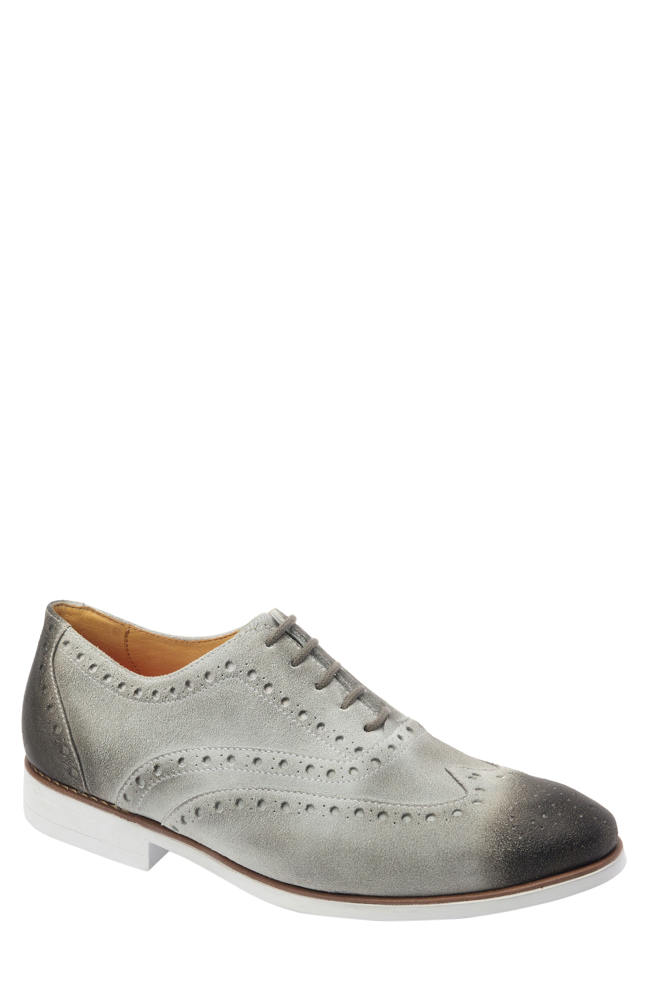SANDRO MOSCOLONI, Manoel Wingtip, Main thumbnail 1, color, ICE GREY SUEDE
