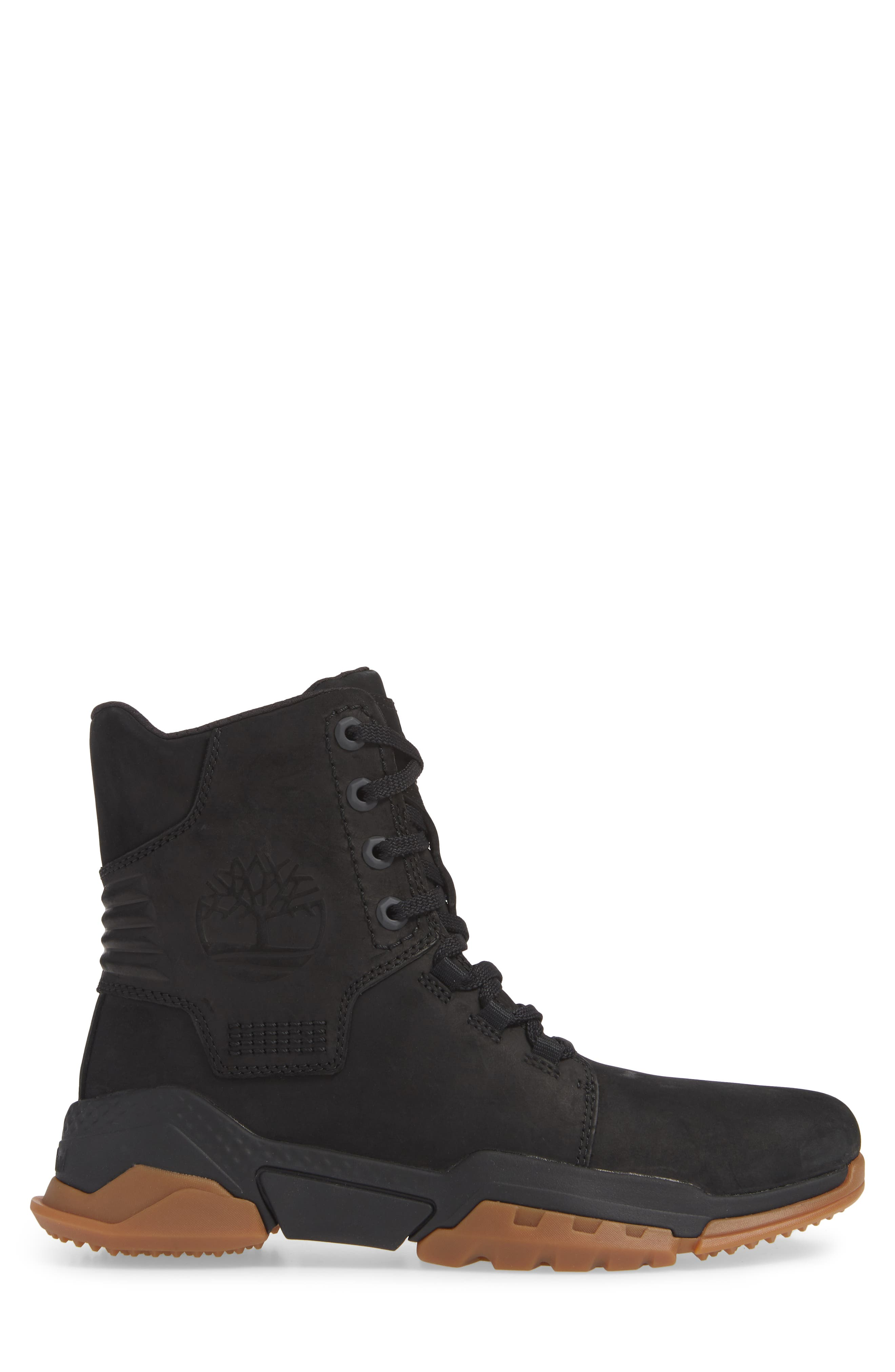 TIMBERLAND, City Force Reveal Plain Toe Boot, Alternate thumbnail 3, color, BLACK LEATHER/ NEOPRENE