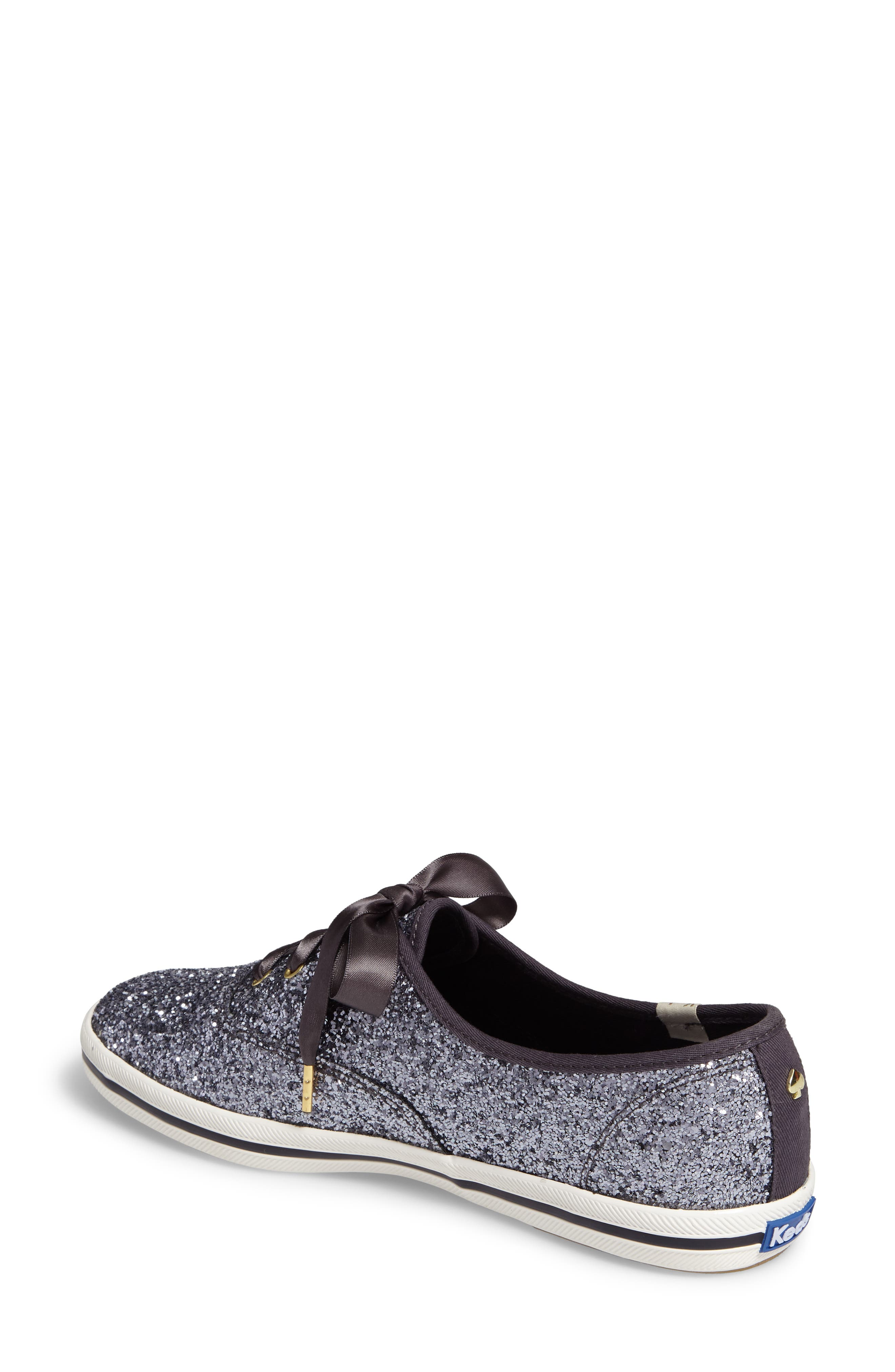KEDS<SUP>®</SUP> FOR KATE SPADE NEW YORK, glitter sneaker, Alternate thumbnail 2, color, PEWTER