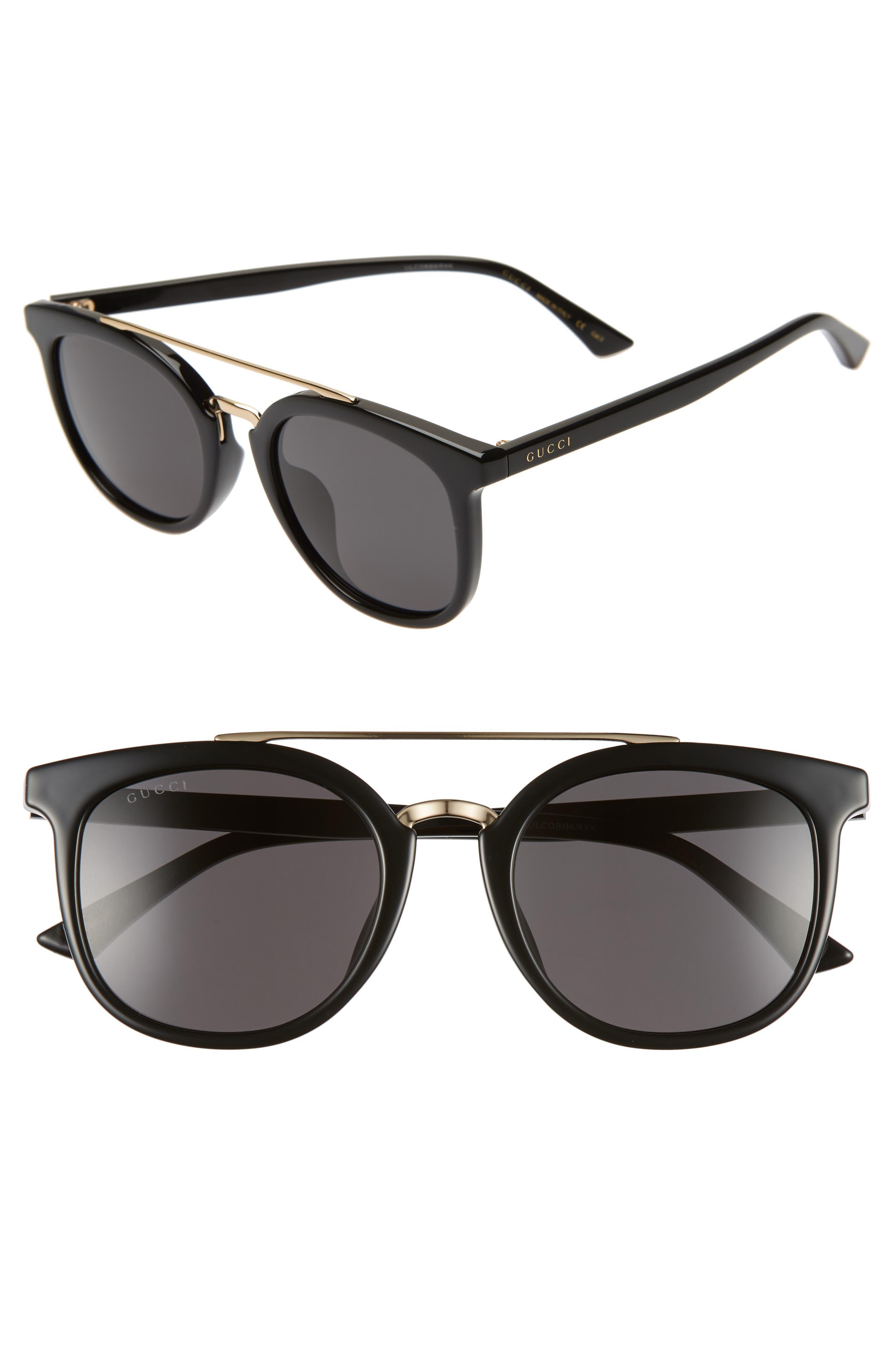 GUCCI 52mm Round Sunglasses, Main, color, BLACK/ GREY