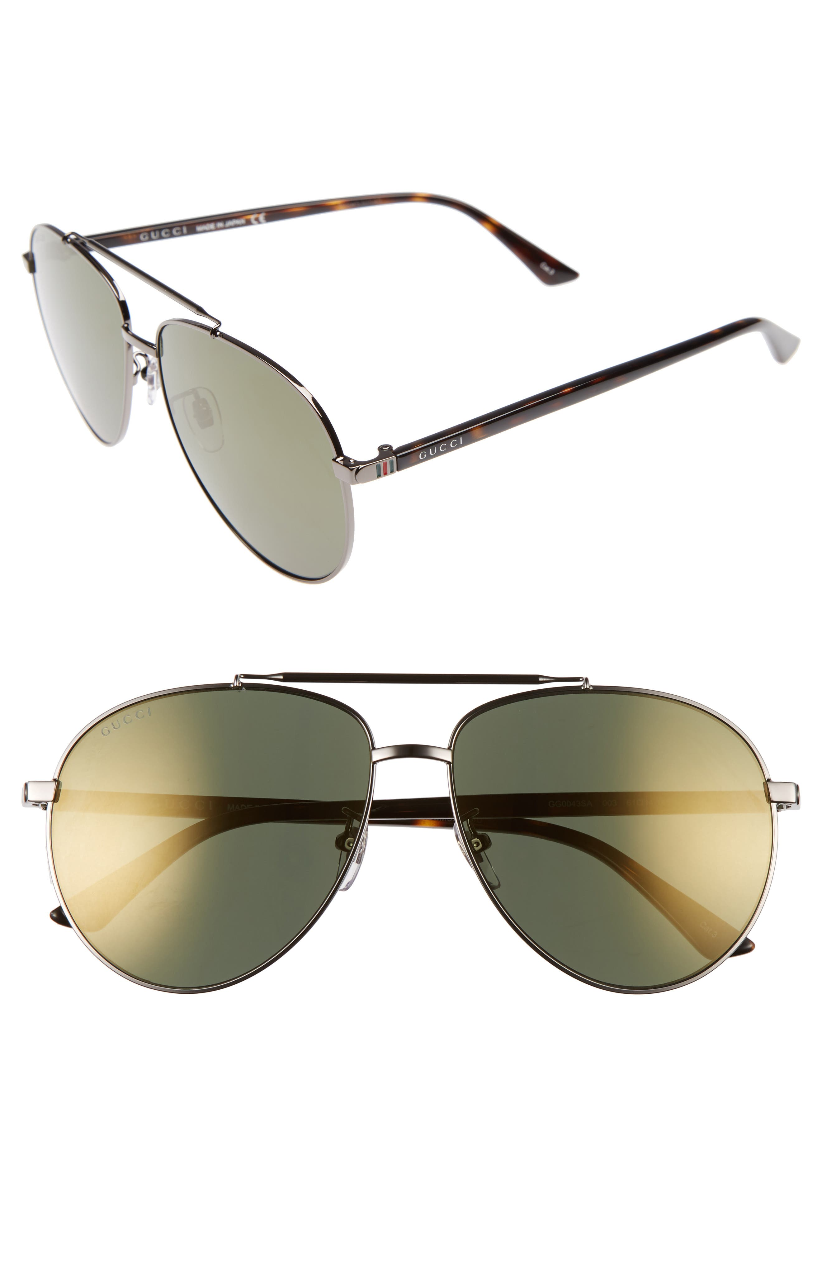 GUCCI, Retro Web 61mm Aviator Sunglasses, Main thumbnail 1, color, RUTHENIUM W.MIRROR GUN LENS