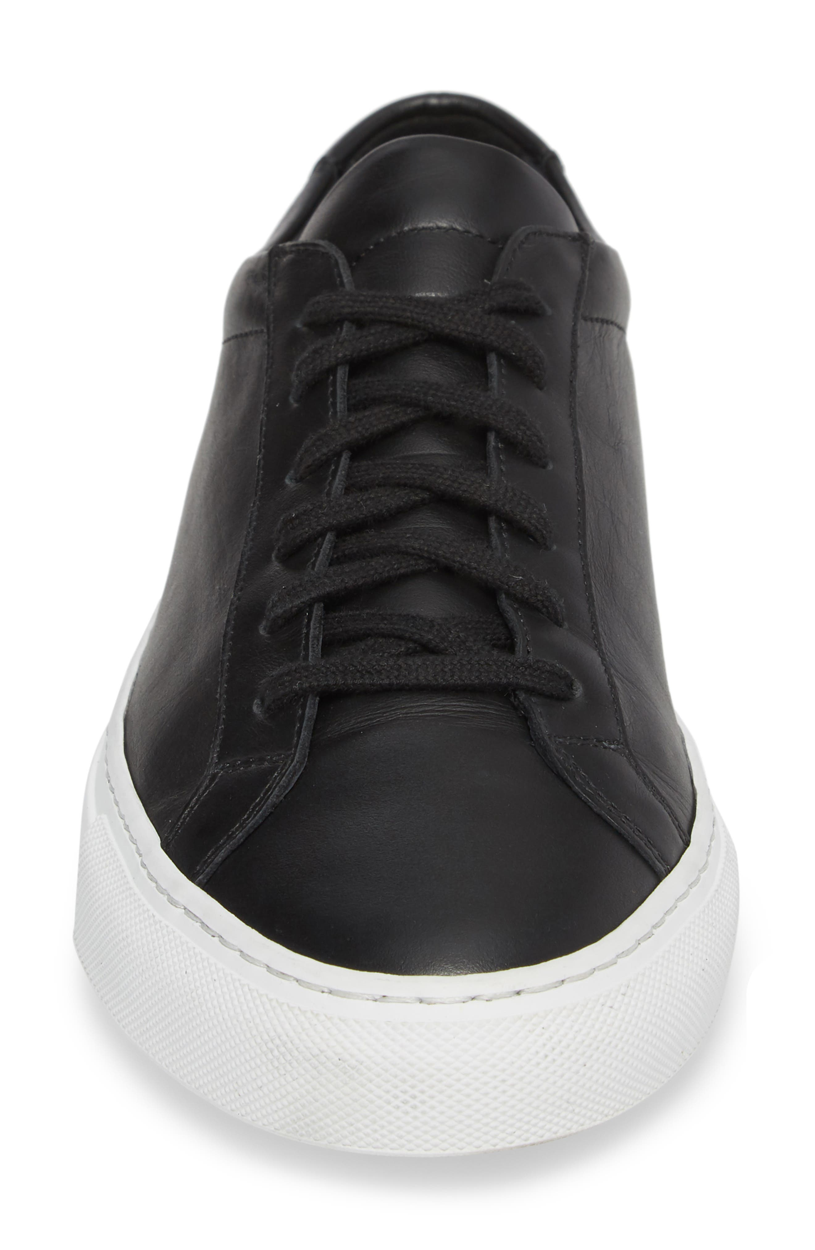 COMMON PROJECTS, Achilles Low Sneaker, Alternate thumbnail 4, color, BLACK LEATHER