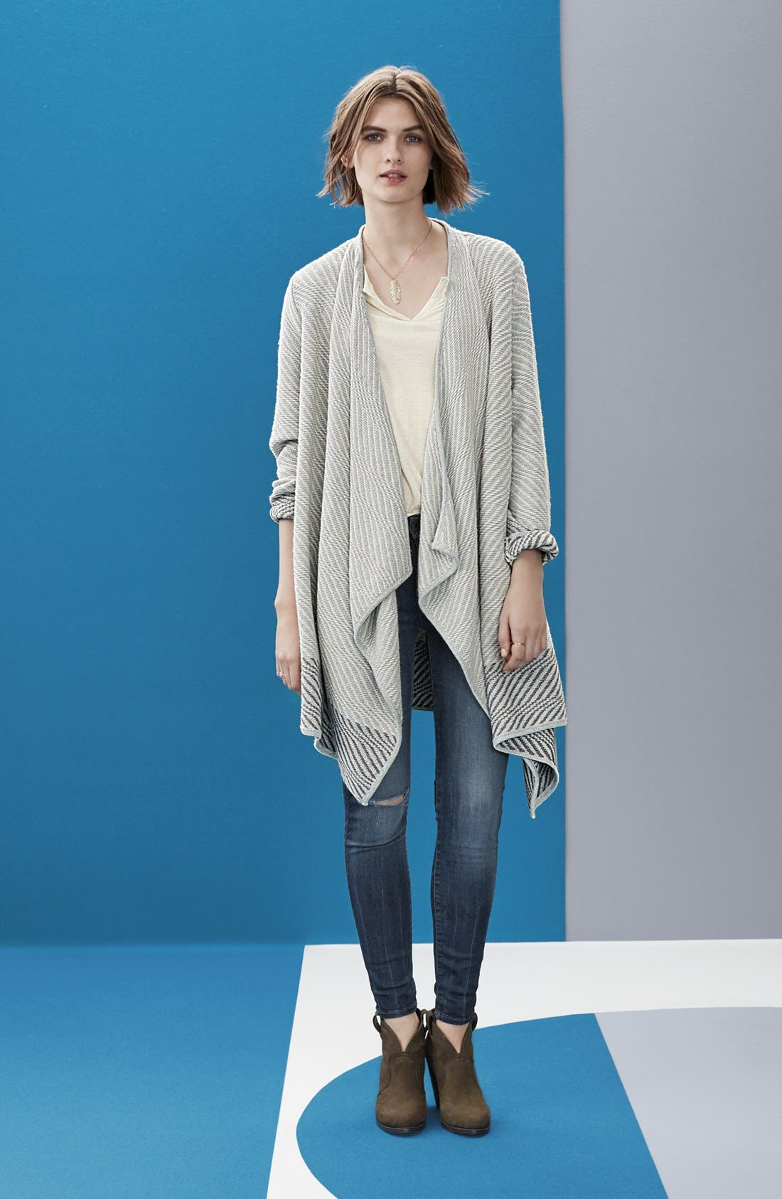 LUCKY BRAND, Waterfall Cardigan, Alternate thumbnail 6, color, 100