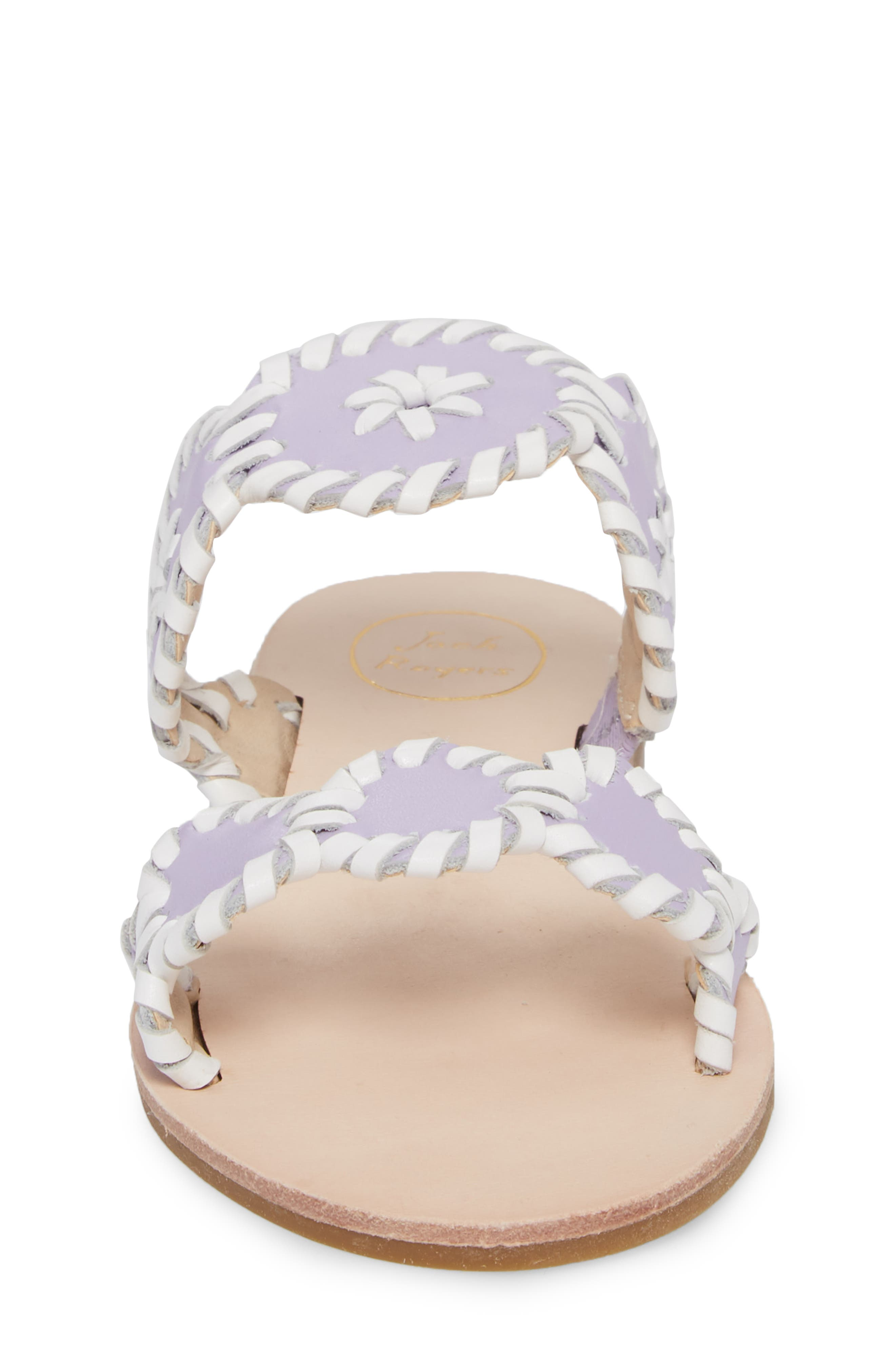 JACK ROGERS, Miss Lauren Sandal, Alternate thumbnail 4, color, LILAC/ WHITE LEATHER