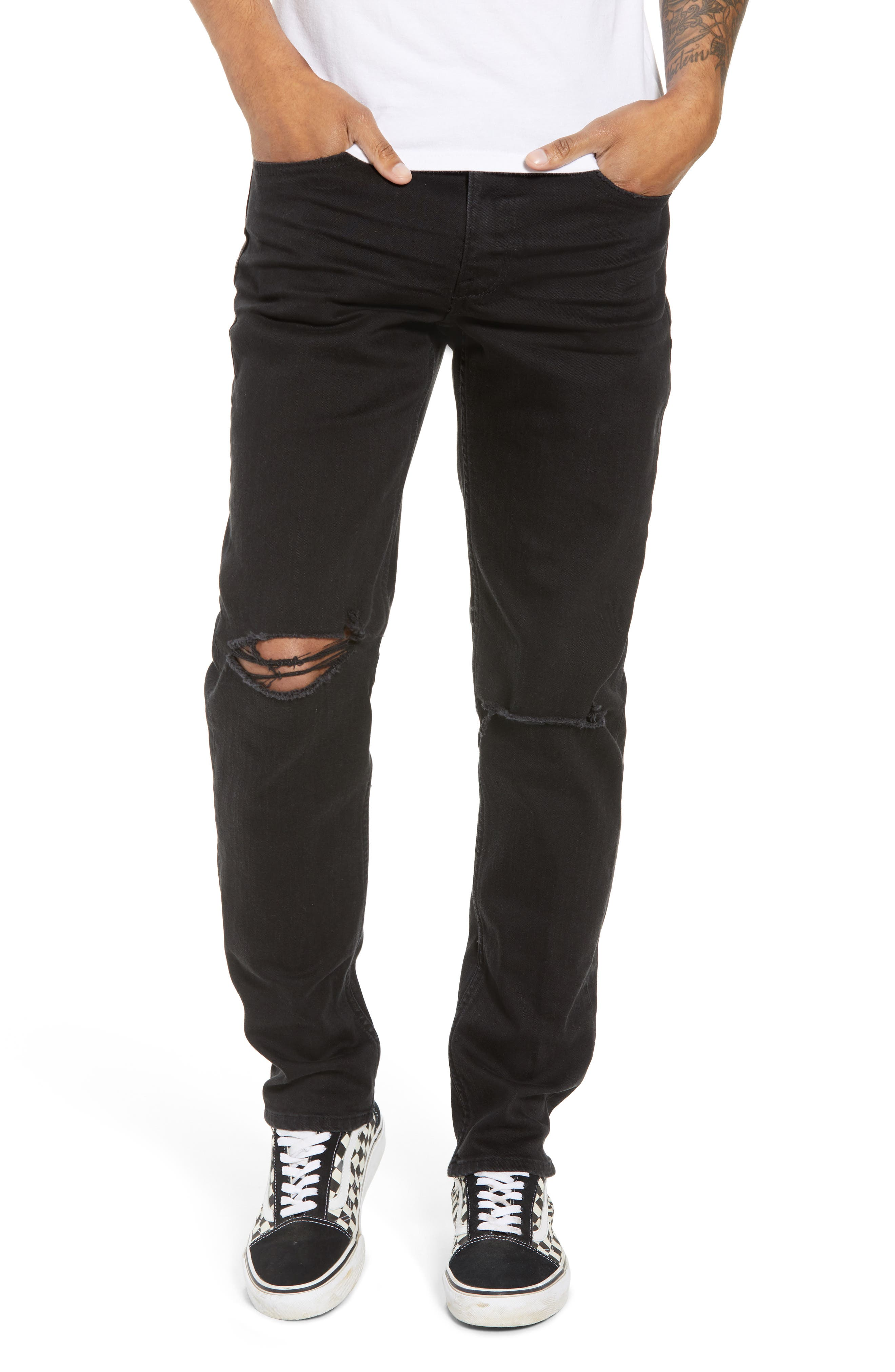 THE RAIL Ripped Skinny Jeans, Main, color, BLACK STONE WASH
