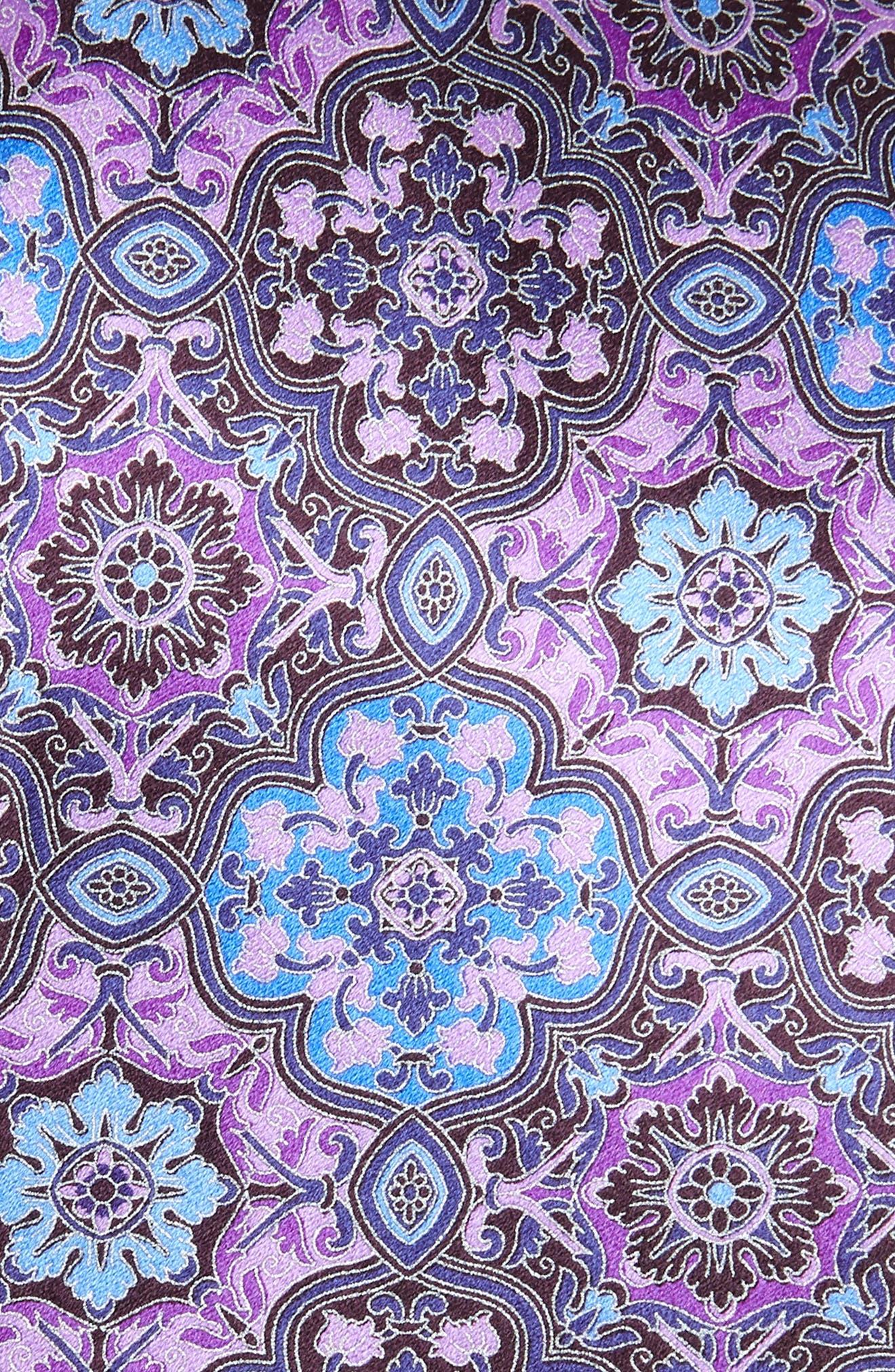ERMENEGILDO ZEGNA, Medallion Silk Tie, Alternate thumbnail 2, color, PURPLE