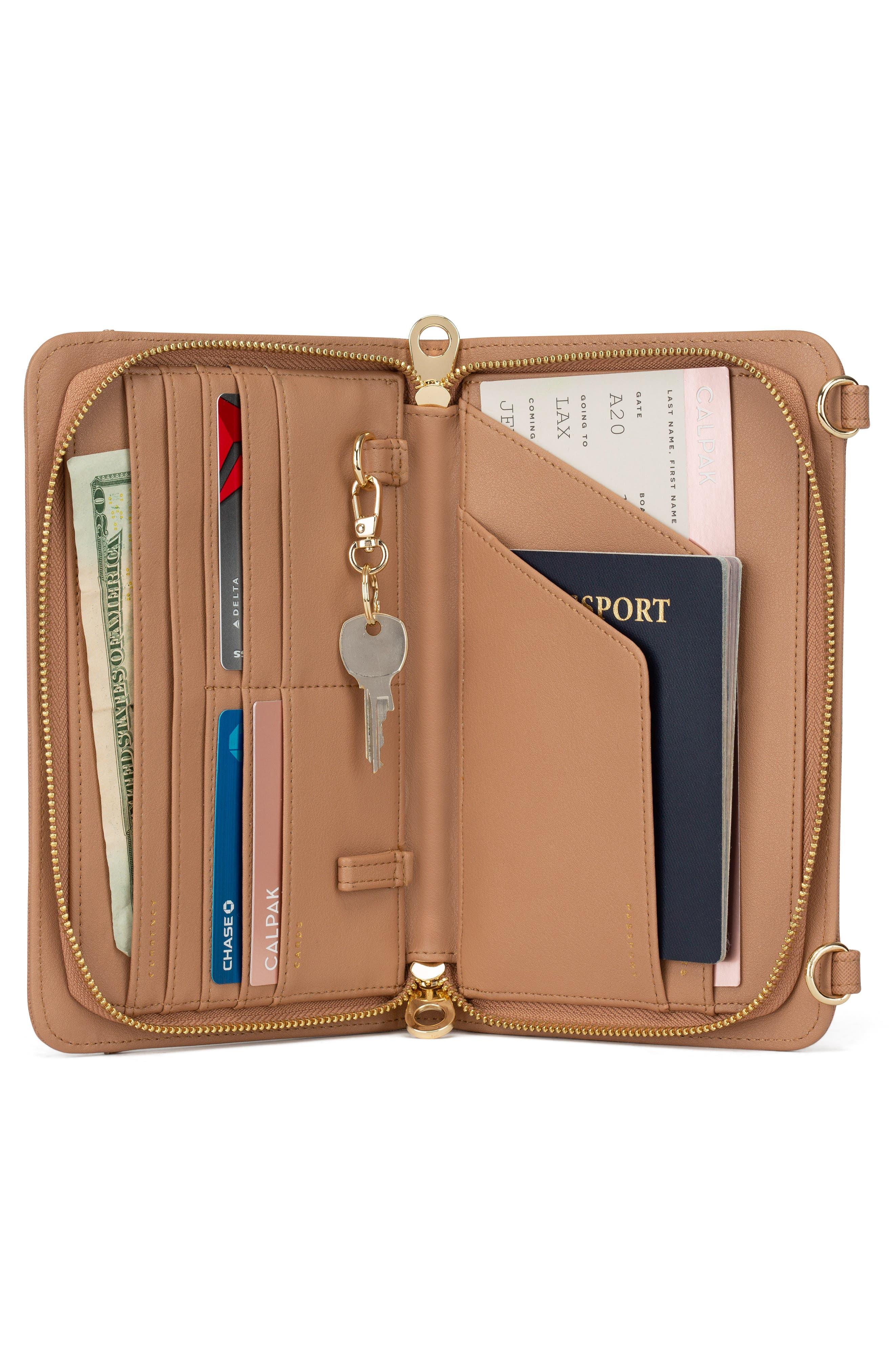 CALPAK, Faux Leather RFID Travel Wallet, Alternate thumbnail 4, color, CARAMEL