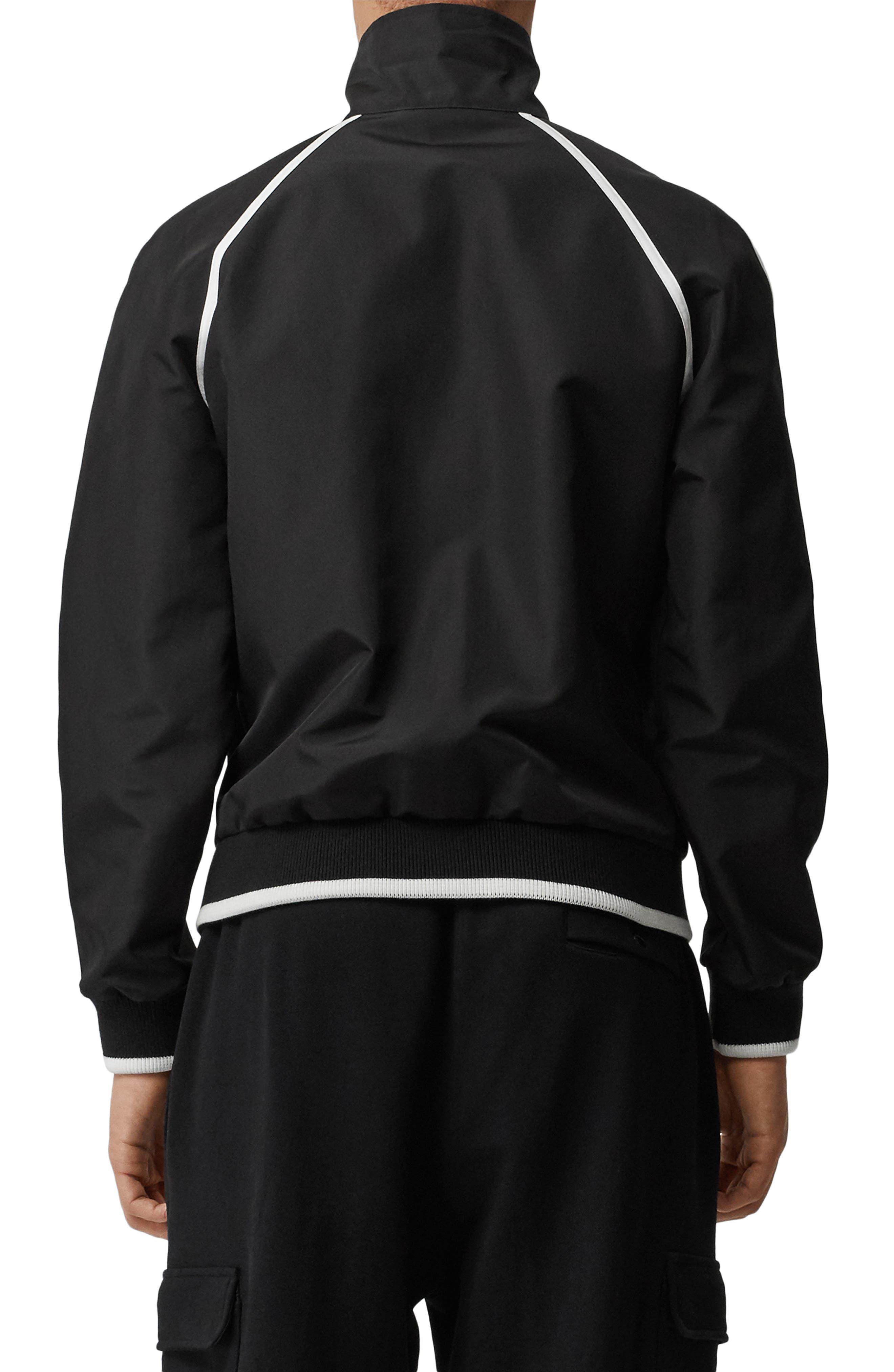 BURBERRY, Northfield Nylon Track Jacket, Alternate thumbnail 2, color, BLACK