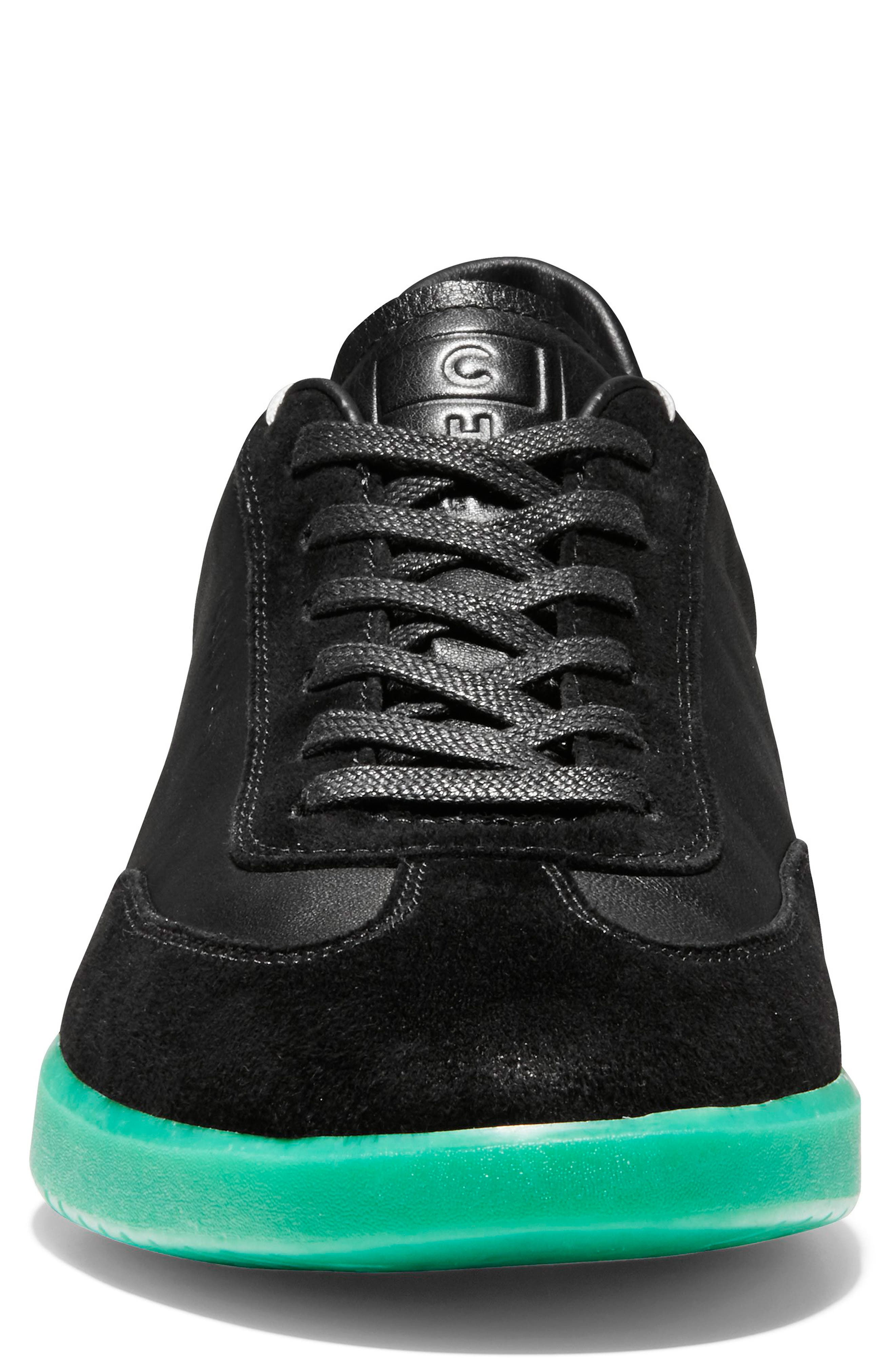COLE HAAN, GrandPro Turf Sneaker, Alternate thumbnail 3, color, BLACK/ GREEN TRANSLUCENT