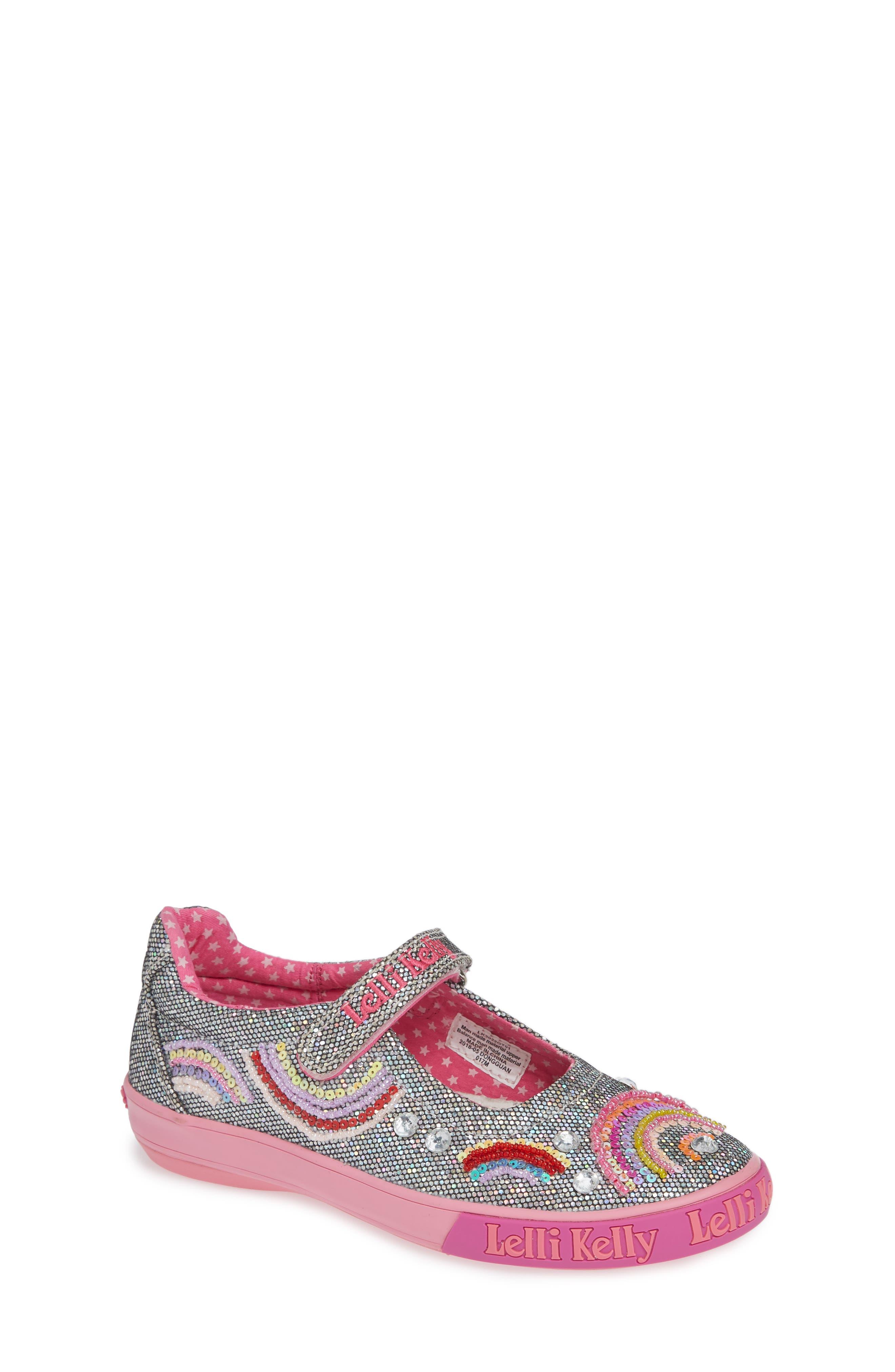 LELLI KELLY Beaded Rainbow Mary Jane Sneaker, Main, color, PEWTER