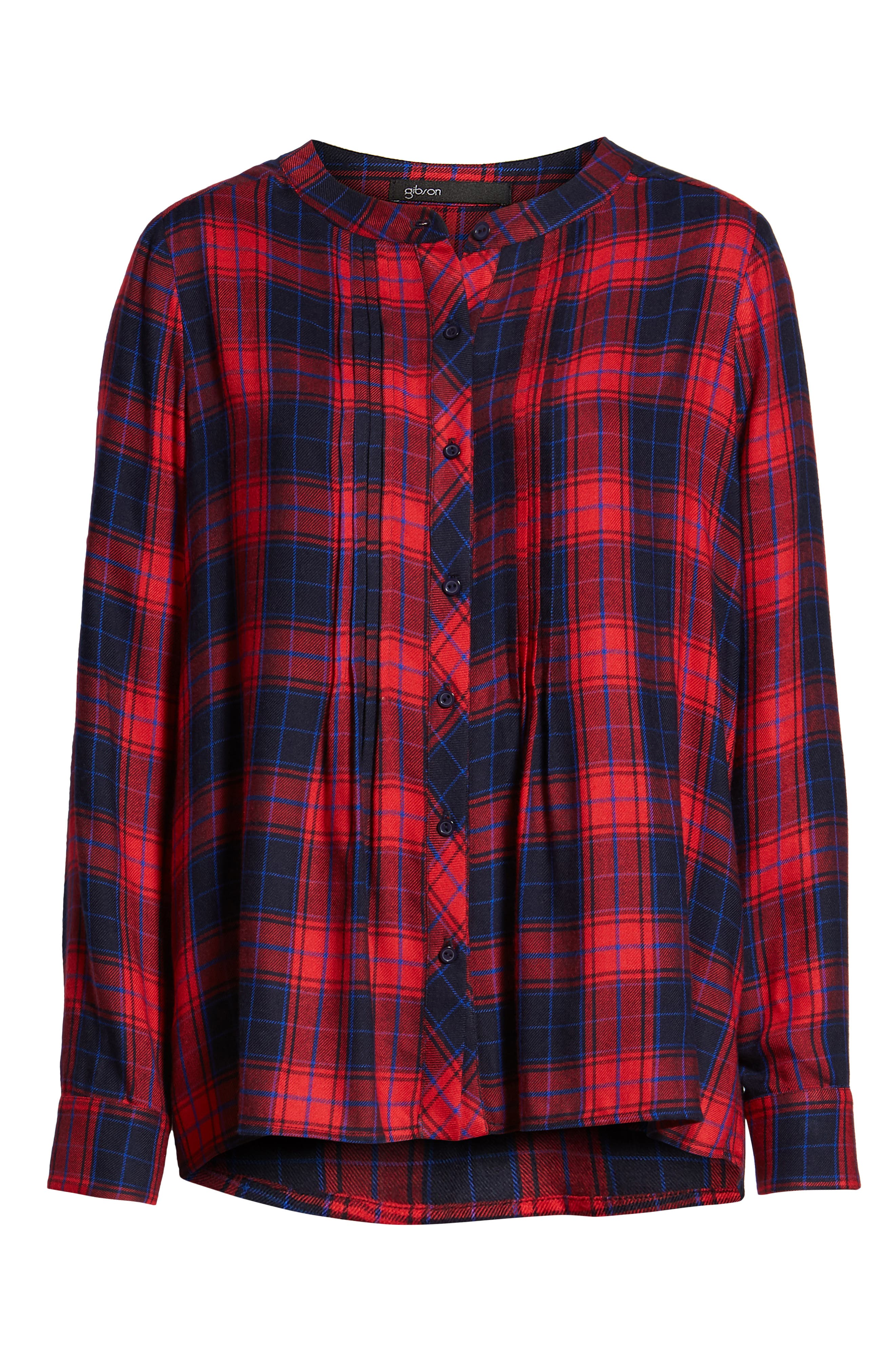 GIBSON, x Living in Yellow Ellen Brushed Check Shirt, Alternate thumbnail 6, color, RED / BLUE