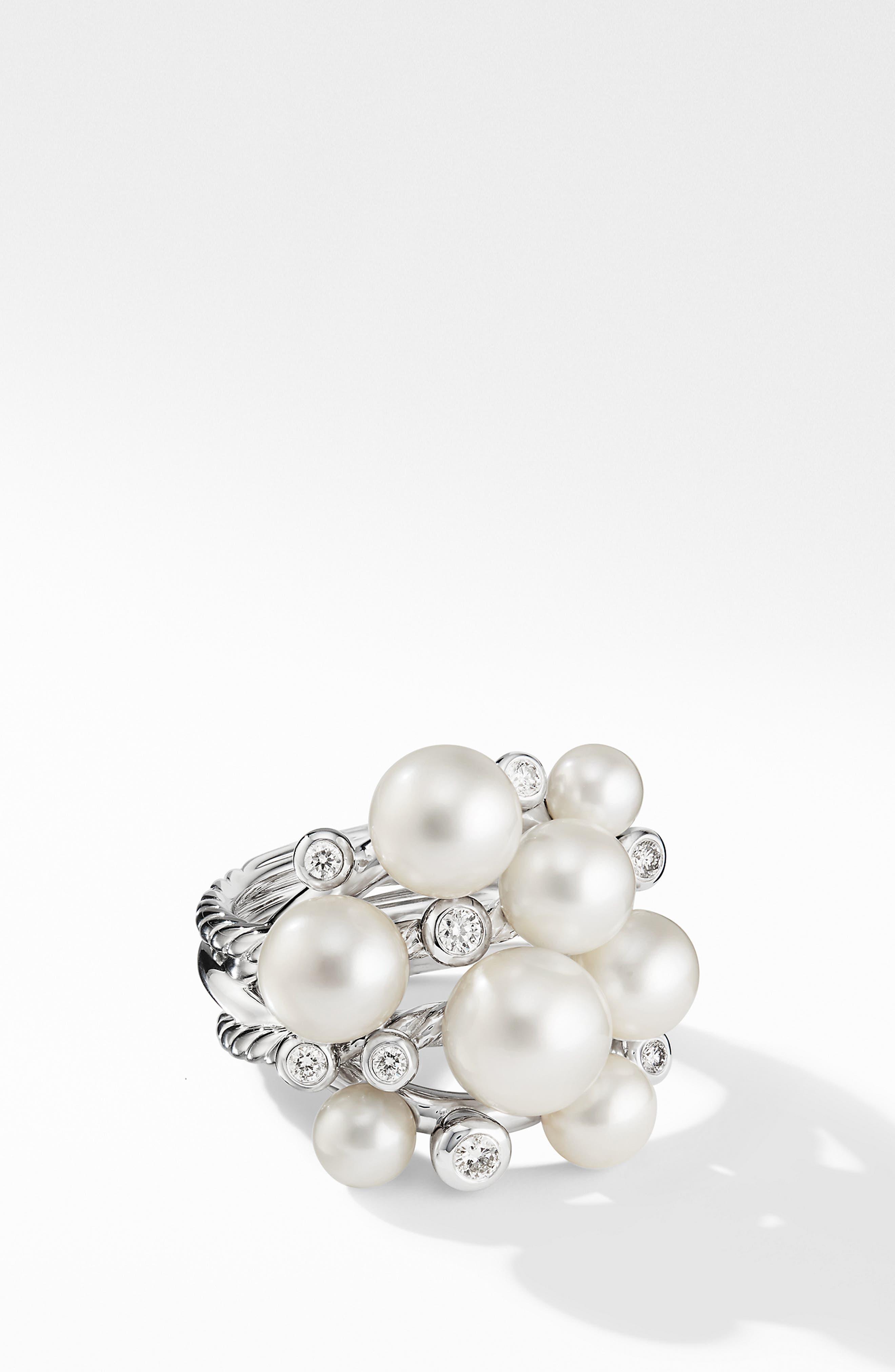 DAVID YURMAN, Large Pearl Cluster Ring with Diamonds, Main thumbnail 1, color, SILVER/ DIAMOND/ PEARL