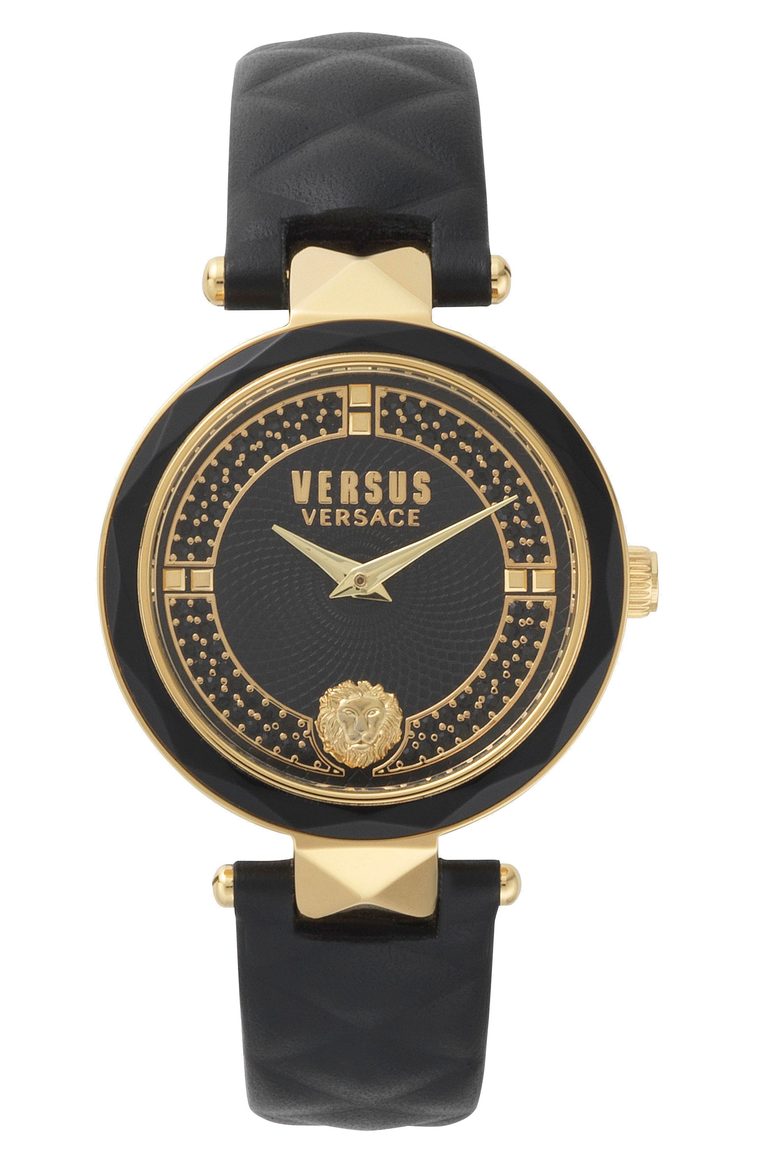 VERSUS VERSACE, Covent Garden Crystal Accent Leather Strap Watch, 36mm, Main thumbnail 1, color, BLACK/ GOLD