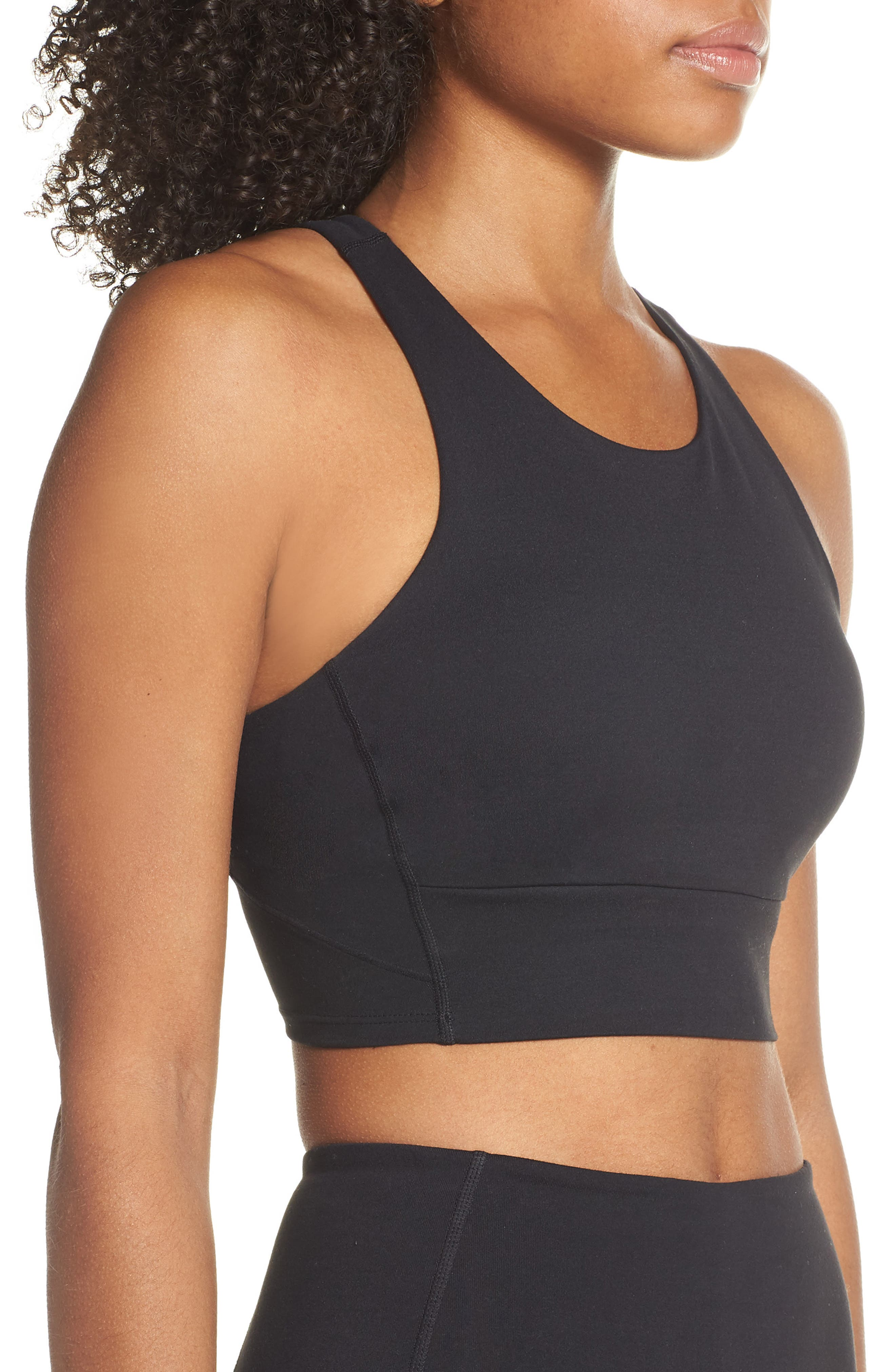 ZELLA, Live In Racerback Bra, Alternate thumbnail 4, color, BLACK