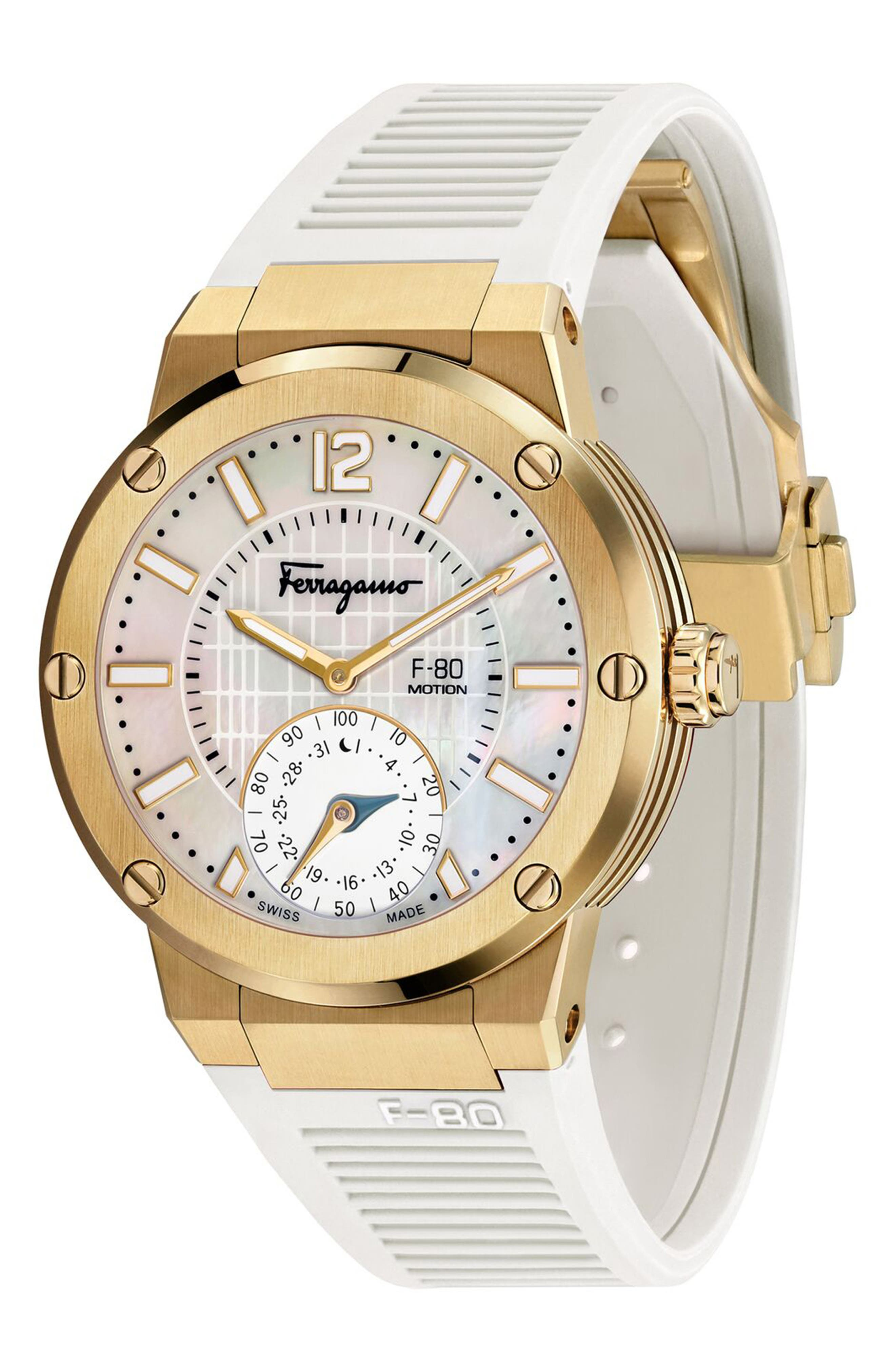 SALVATORE FERRAGAMO, F-80 Motion Rubber Strap Smart Watch, 44mm, Main thumbnail 1, color, WHITE/ MOP/ GOLD