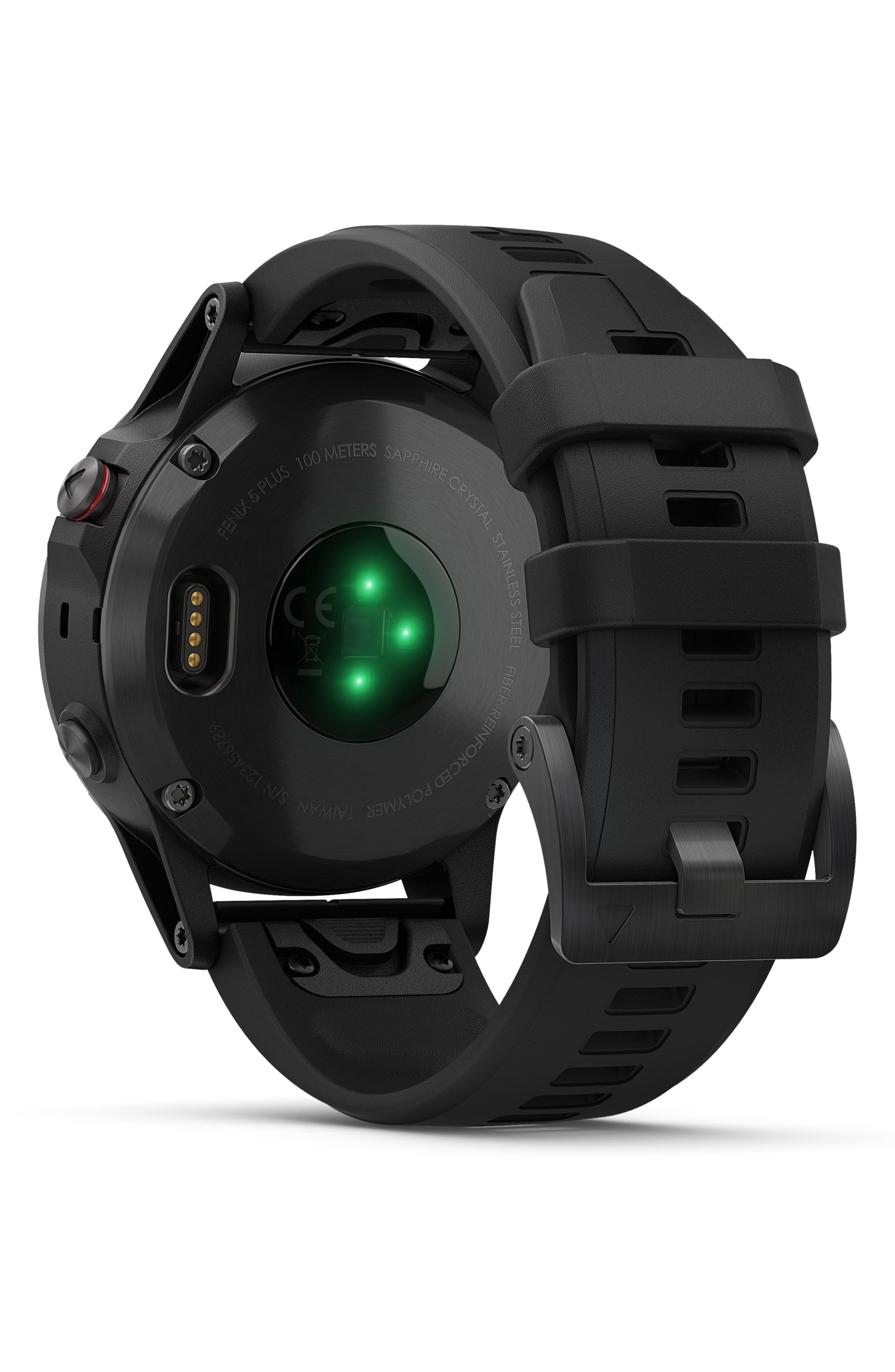 GARMIN, fenix<sup>®</sup> 5 Plus Sapphire Premium Multisport GPS Watch, 47mm, Alternate thumbnail 2, color, BLACK