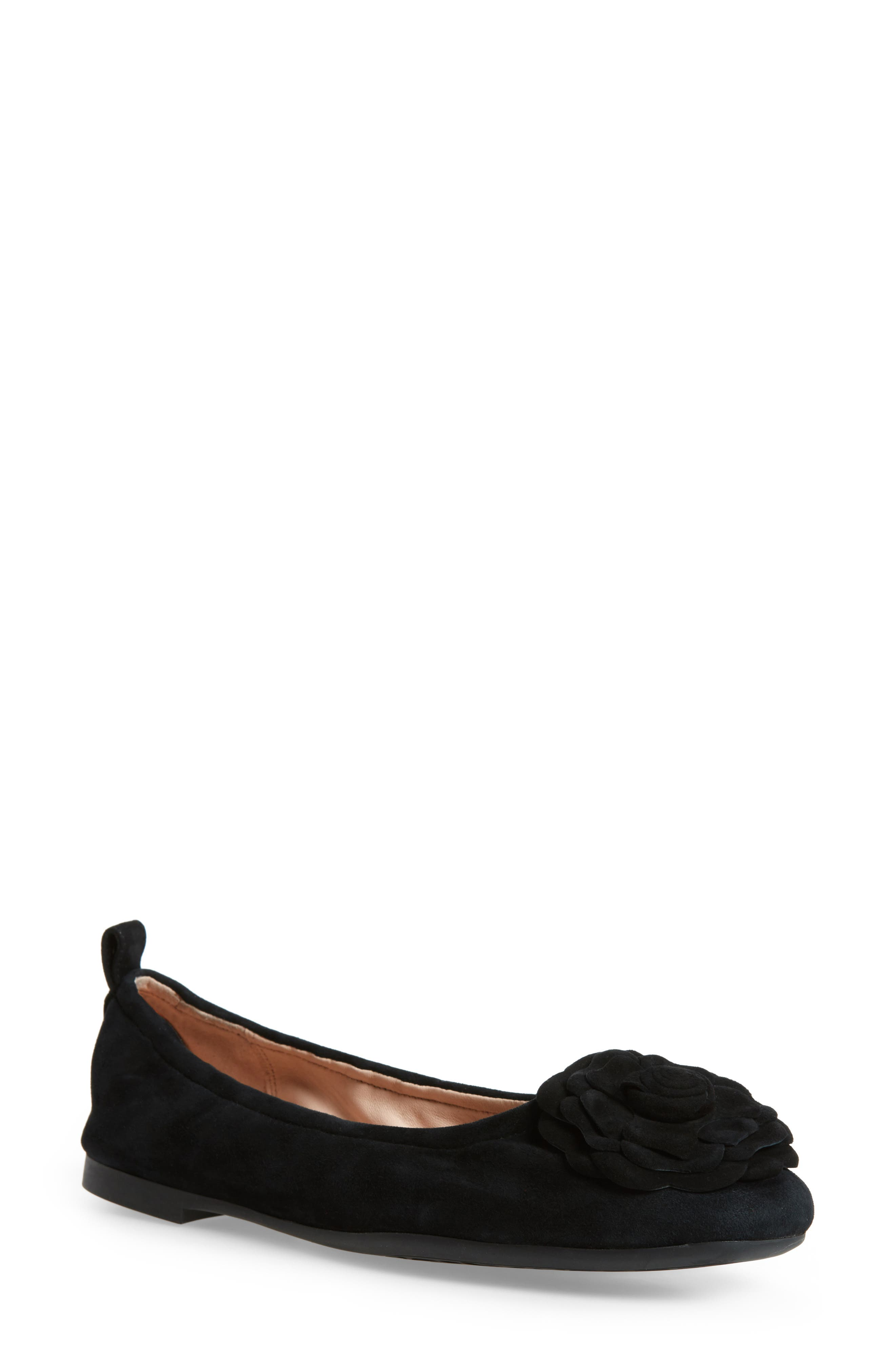 TARYN ROSE Rosalyn Ballet Flat, Main, color, BLACK SUEDE