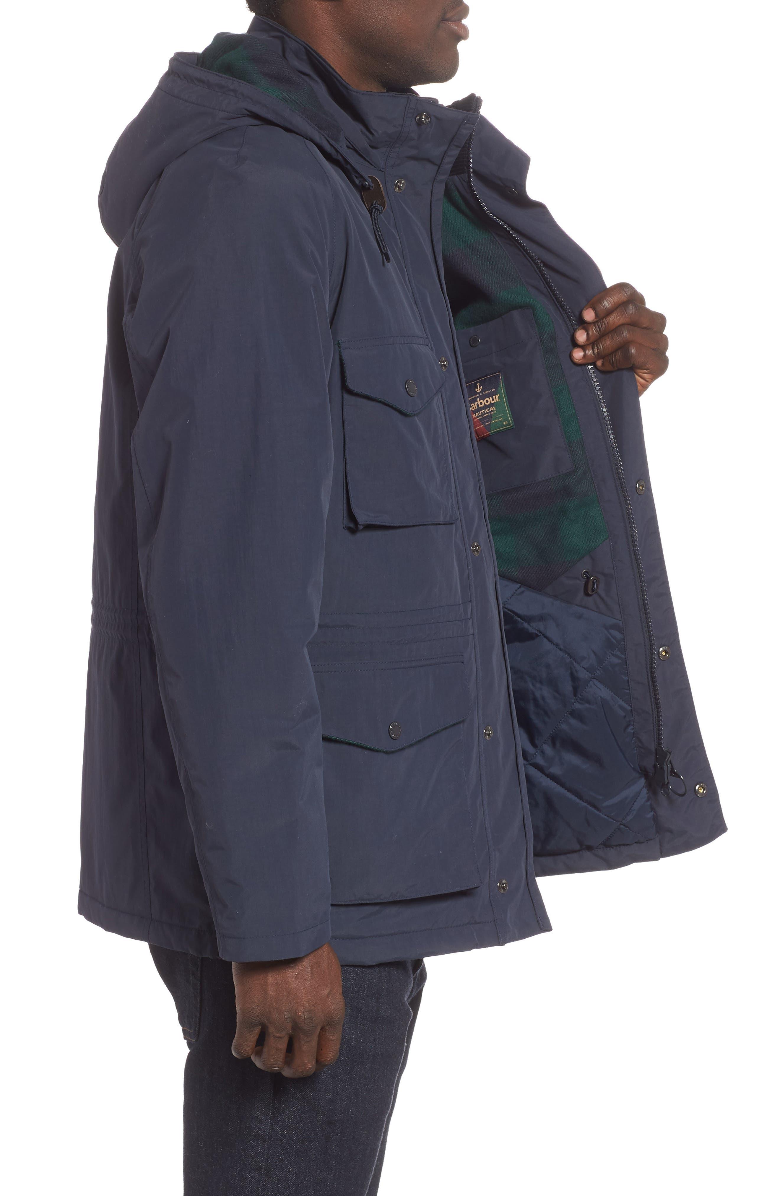 BARBOUR, Tiree Waterproof Jacket, Alternate thumbnail 3, color, 410