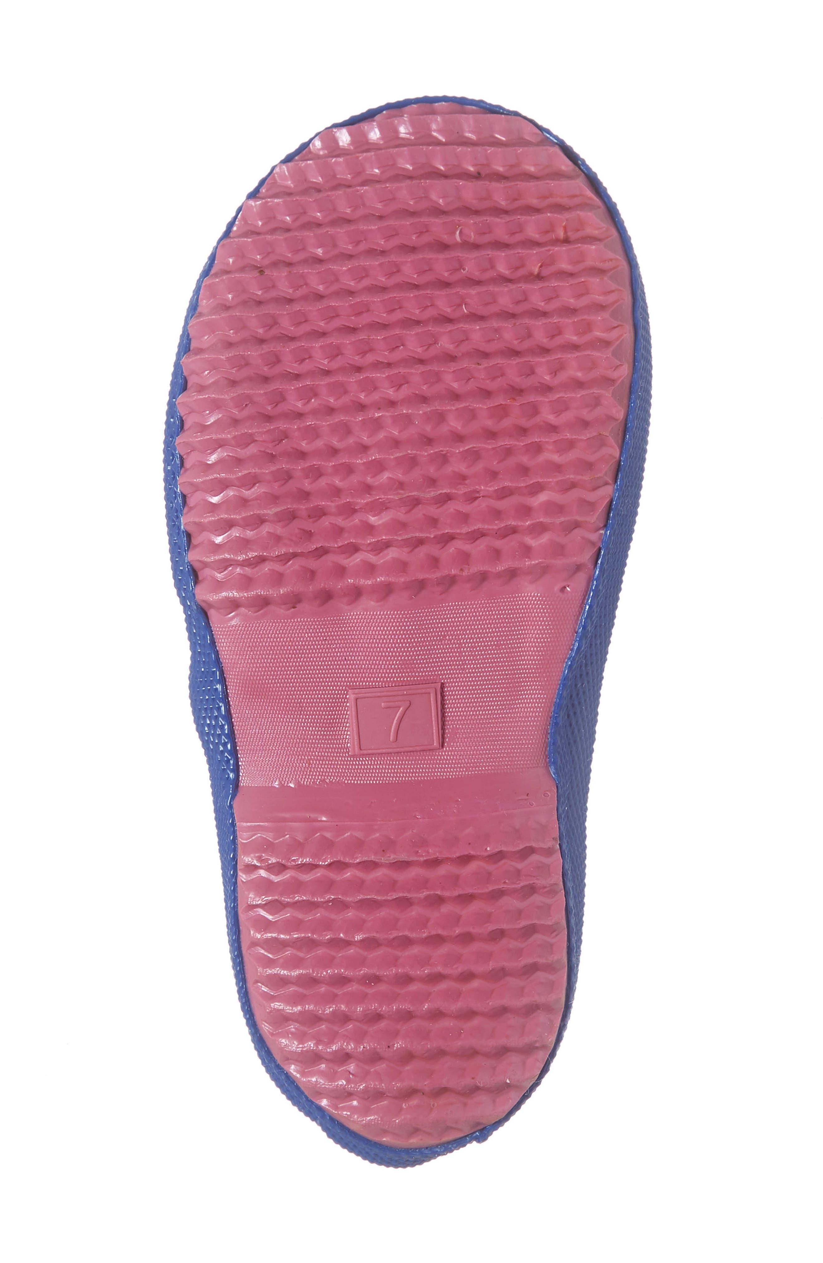 JOULES, Print Waterproof Rain Boot, Alternate thumbnail 6, color, BLUE CONFETTI FLORAL