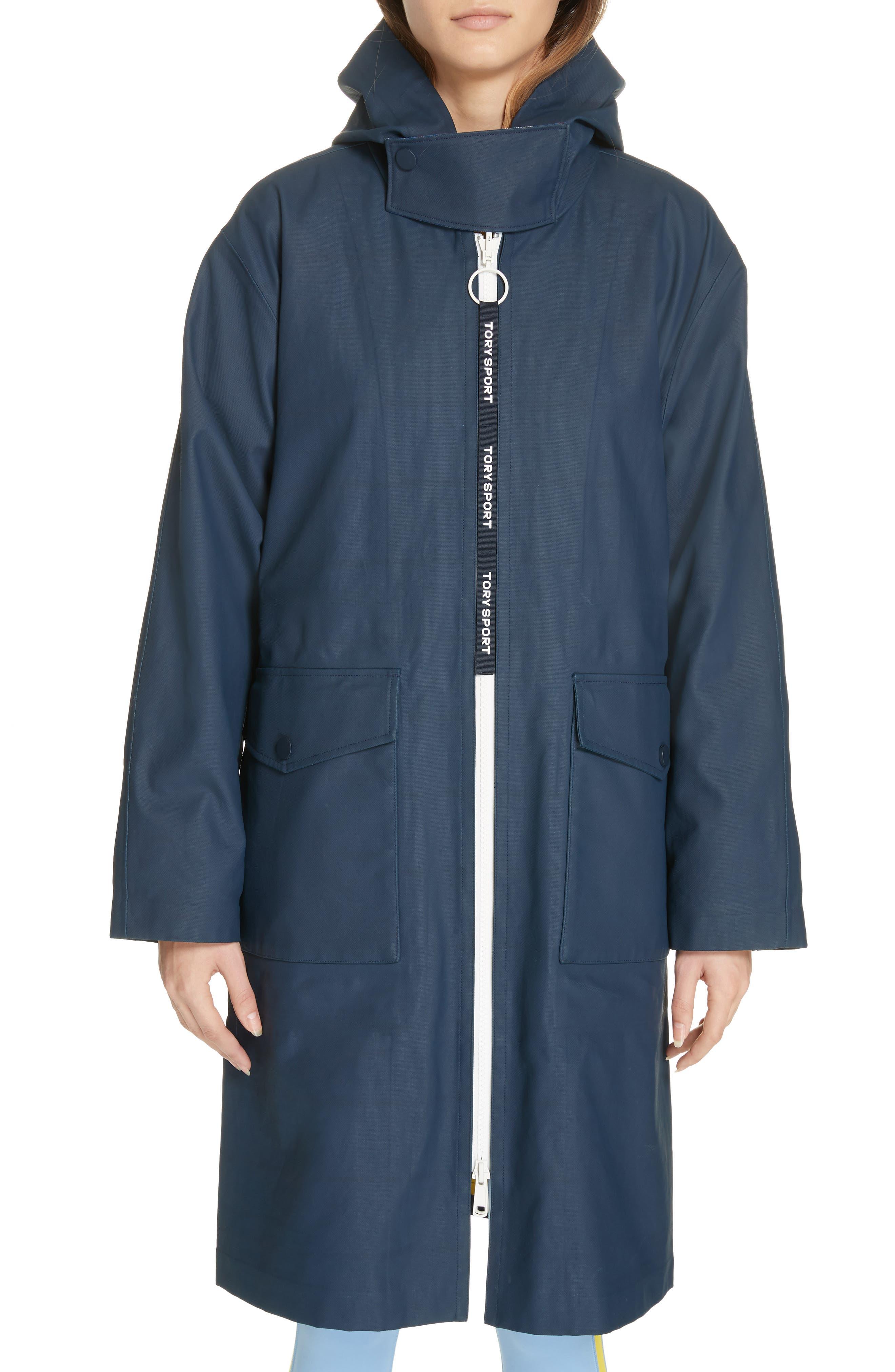 TORY SPORT, Reversible Coated Canvas Rain Coat, Alternate thumbnail 2, color, TANDEM PLAID LARGE SURF BLUE