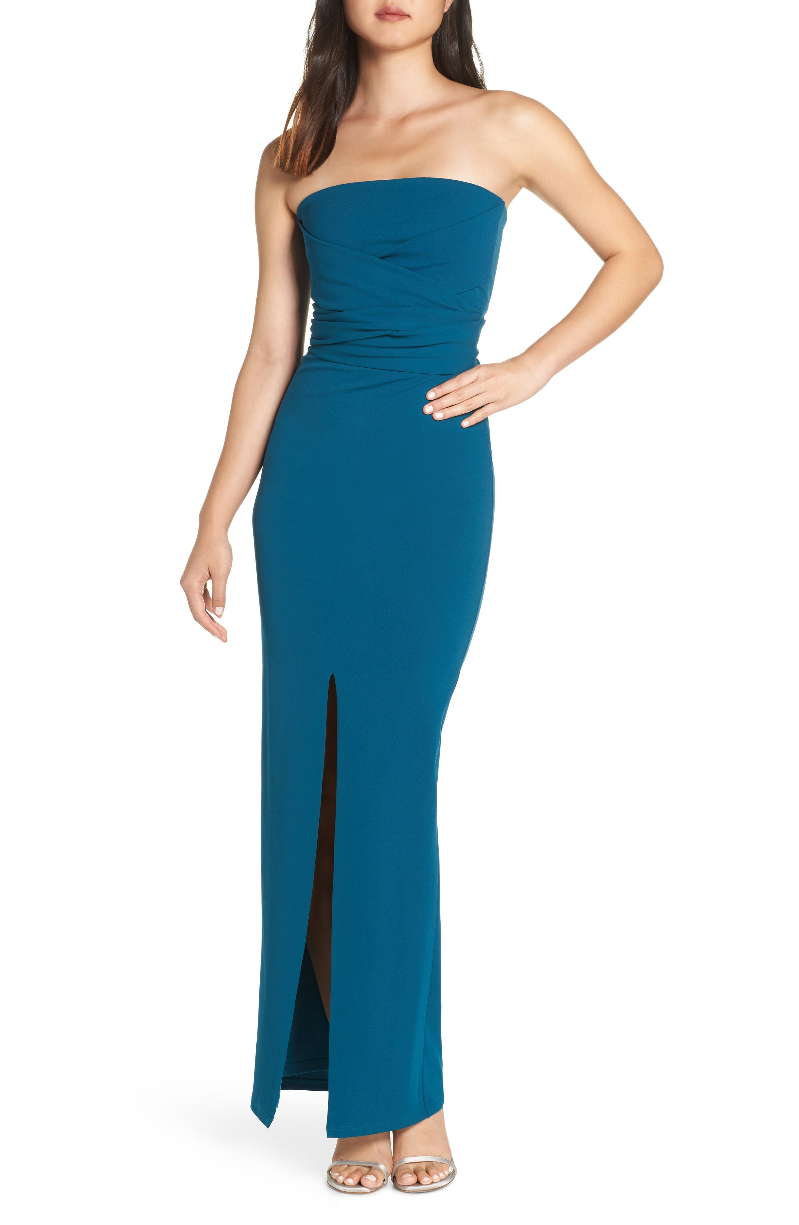 LULUS, Own the Night Strapless Maxi Dress, Main thumbnail 1, color, TURQUOISE