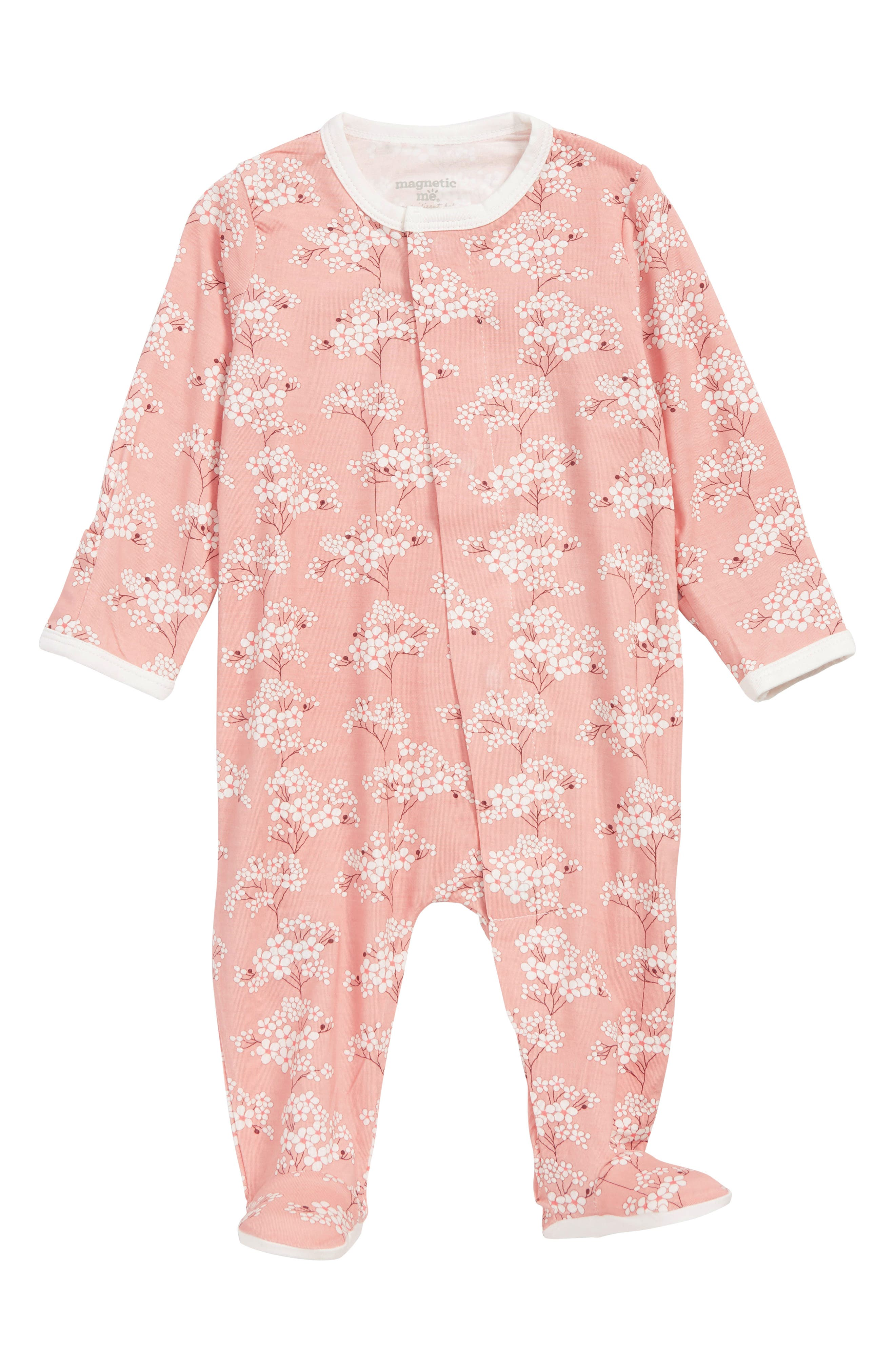 MAGNETIC ME, Cherry Blossom Footie, Main thumbnail 1, color, 650