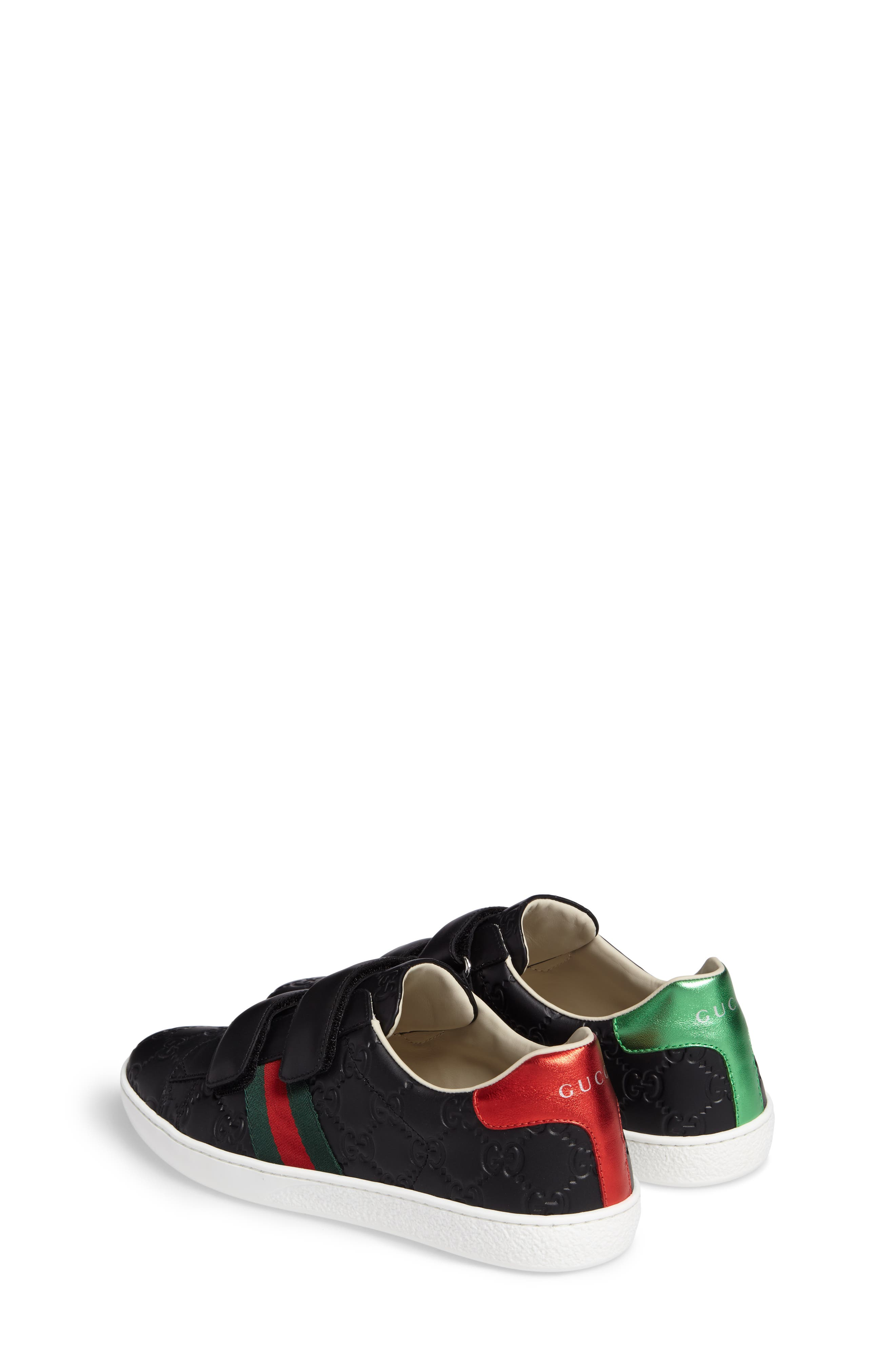GUCCI, New Ace Sneaker, Alternate thumbnail 3, color, 001