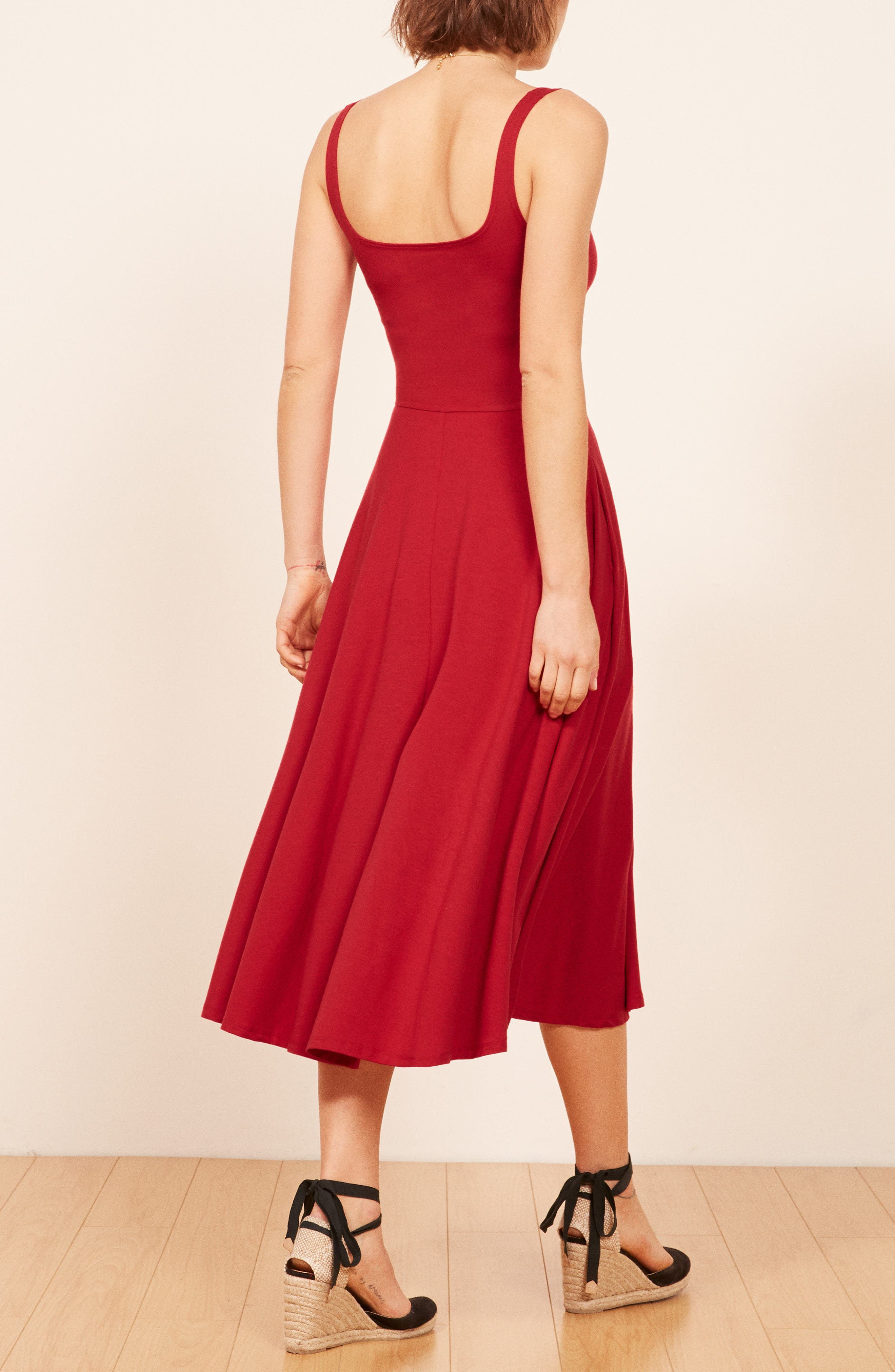 REFORMATION, Rou Midi Fit & Flare Dress, Alternate thumbnail 2, color, CHERRY