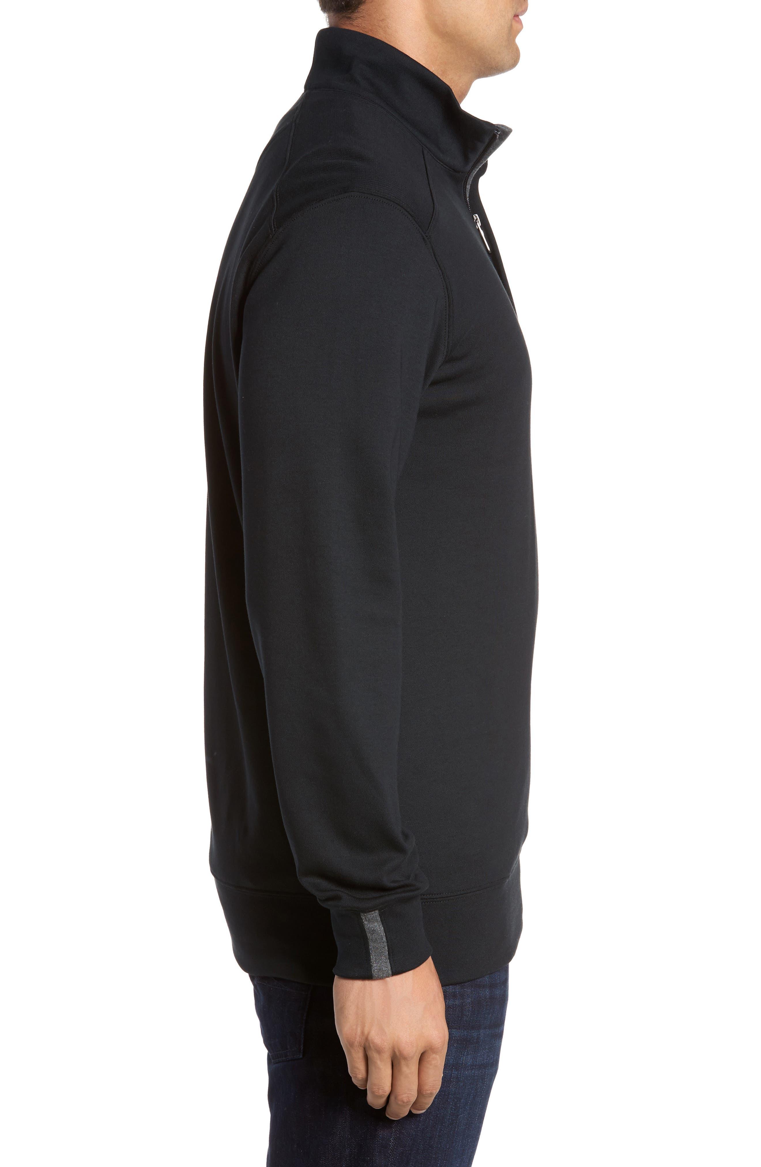 BOBBY JONES, 'New Leaderboard' Quarter Zip Pullover, Alternate thumbnail 3, color, BLACK