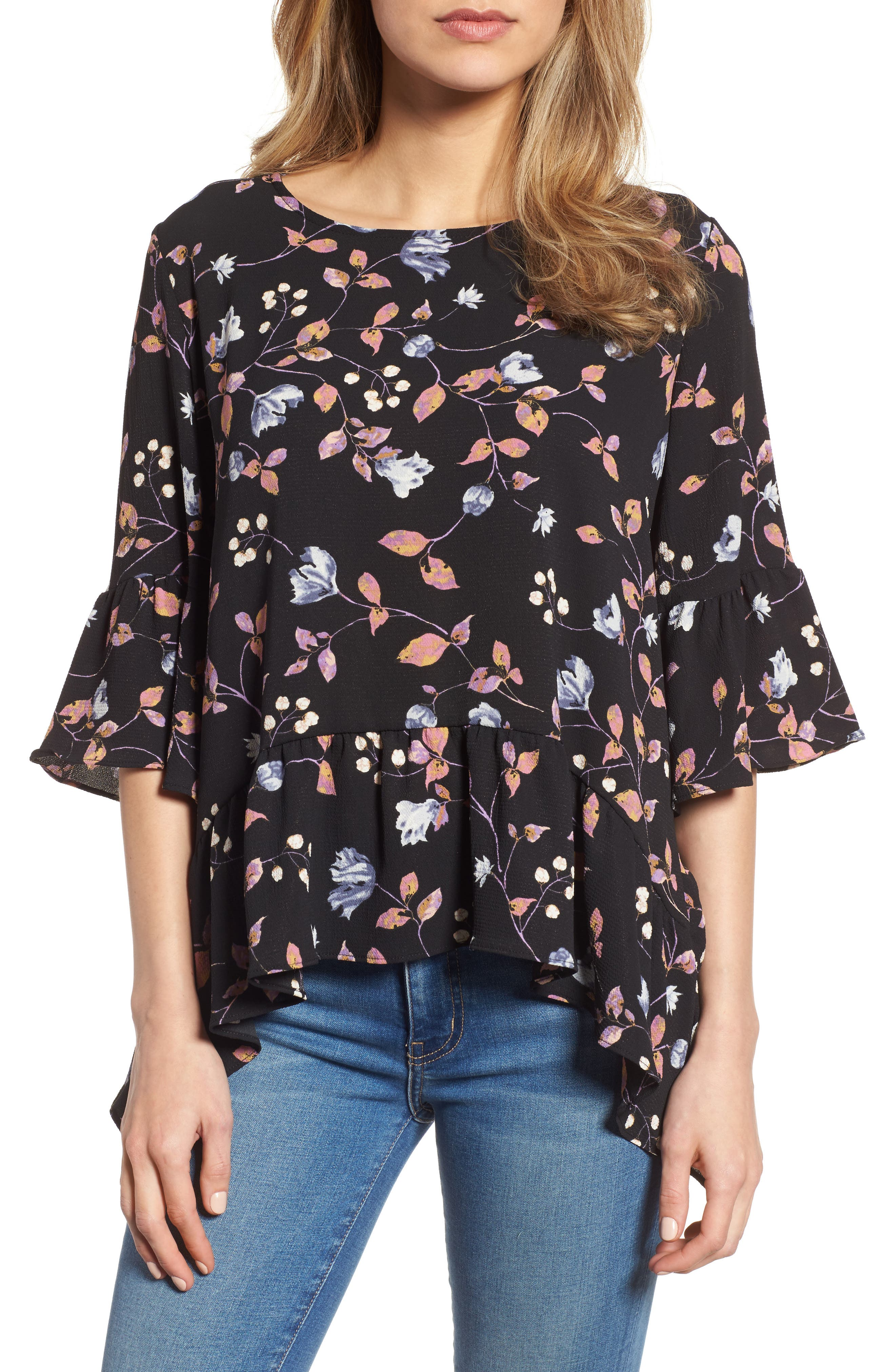 GIBSON Ruffled Handkerchief Hem Top, Main, color, 003