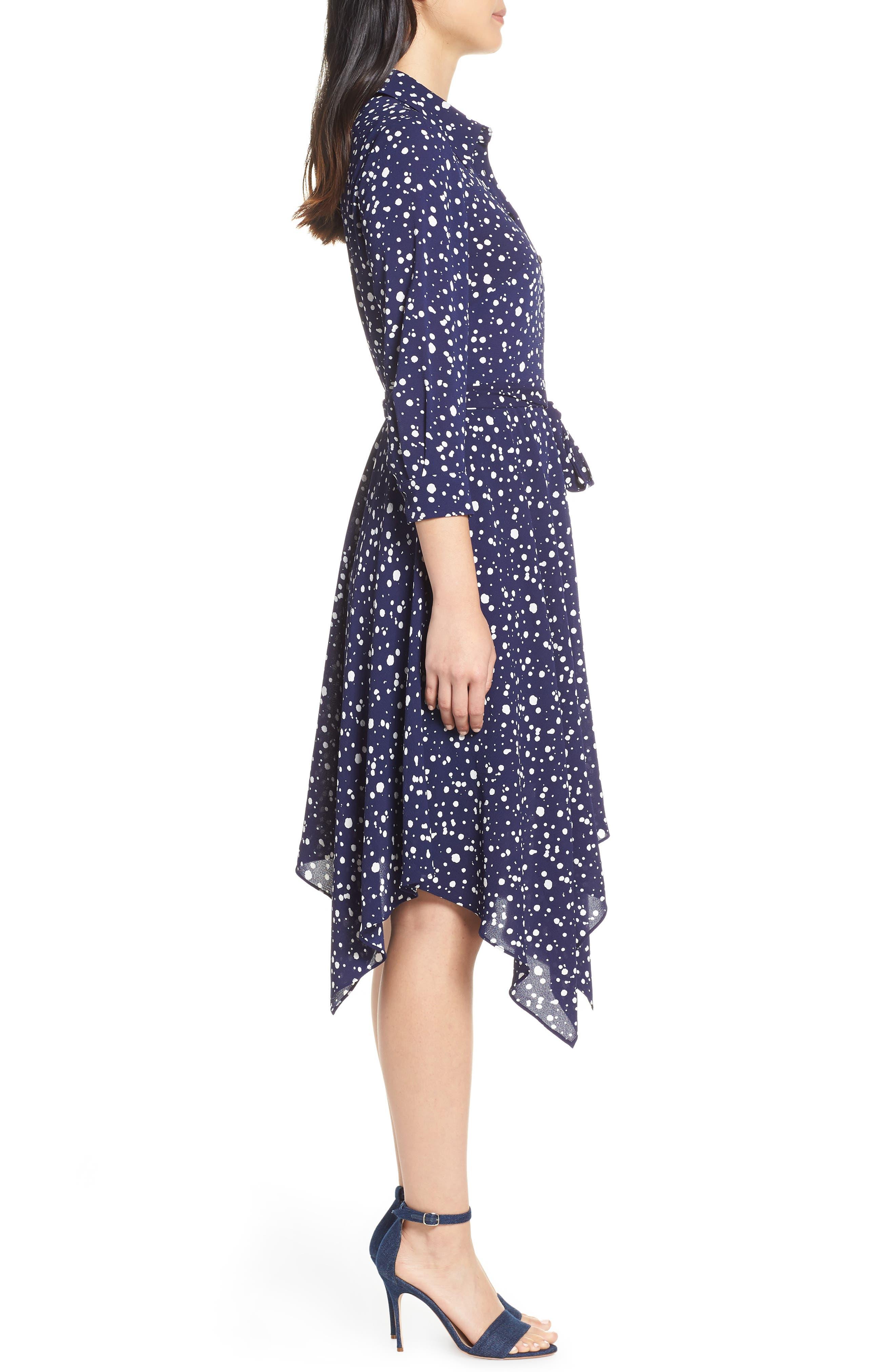 ELIZA J, Handkerchief Hem Midi Dress, Alternate thumbnail 4, color, 410