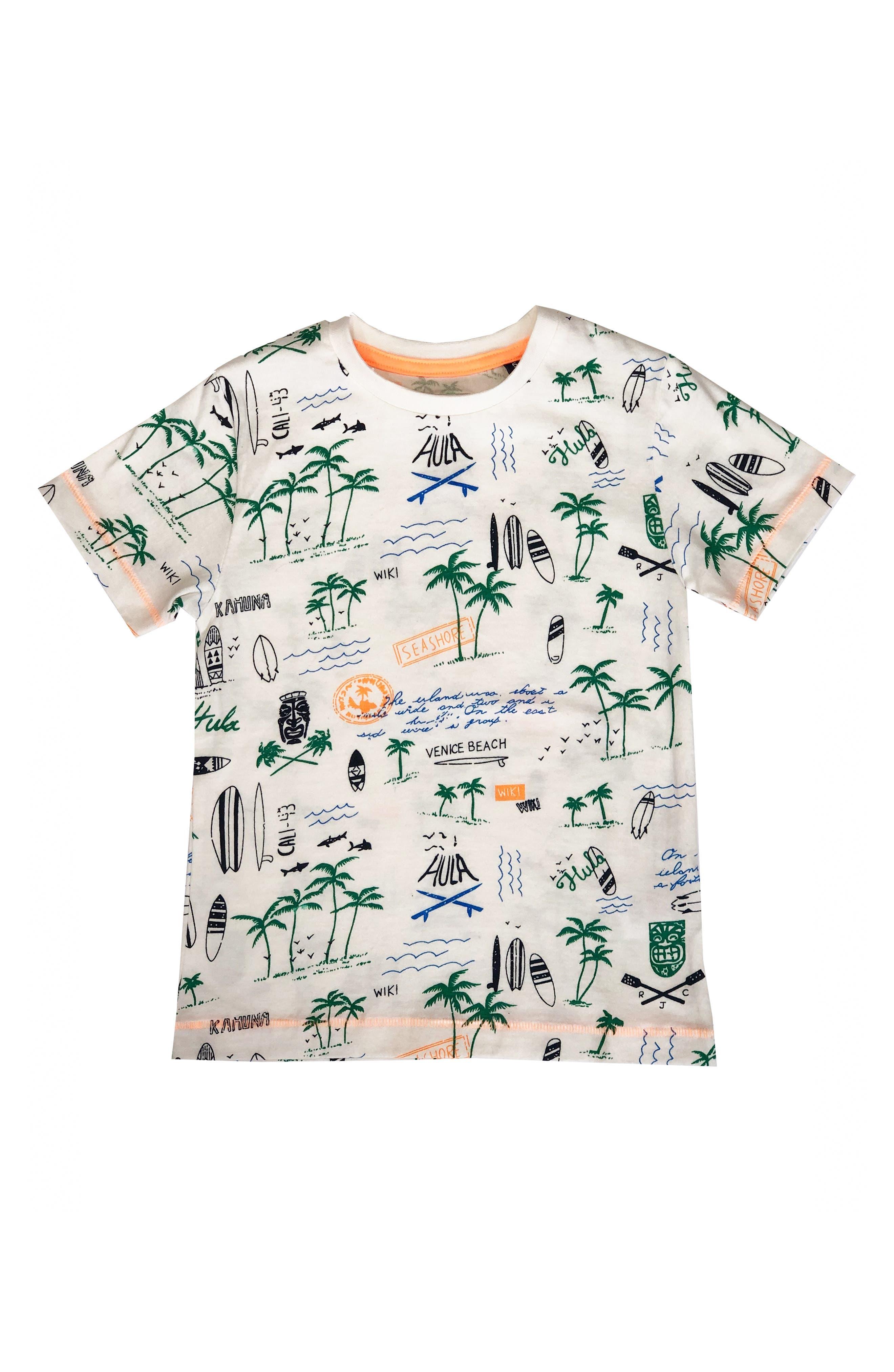 REBEL JAMES & CHARLI, Tiki Print T-Shirt, Main thumbnail 1, color, NATURAL