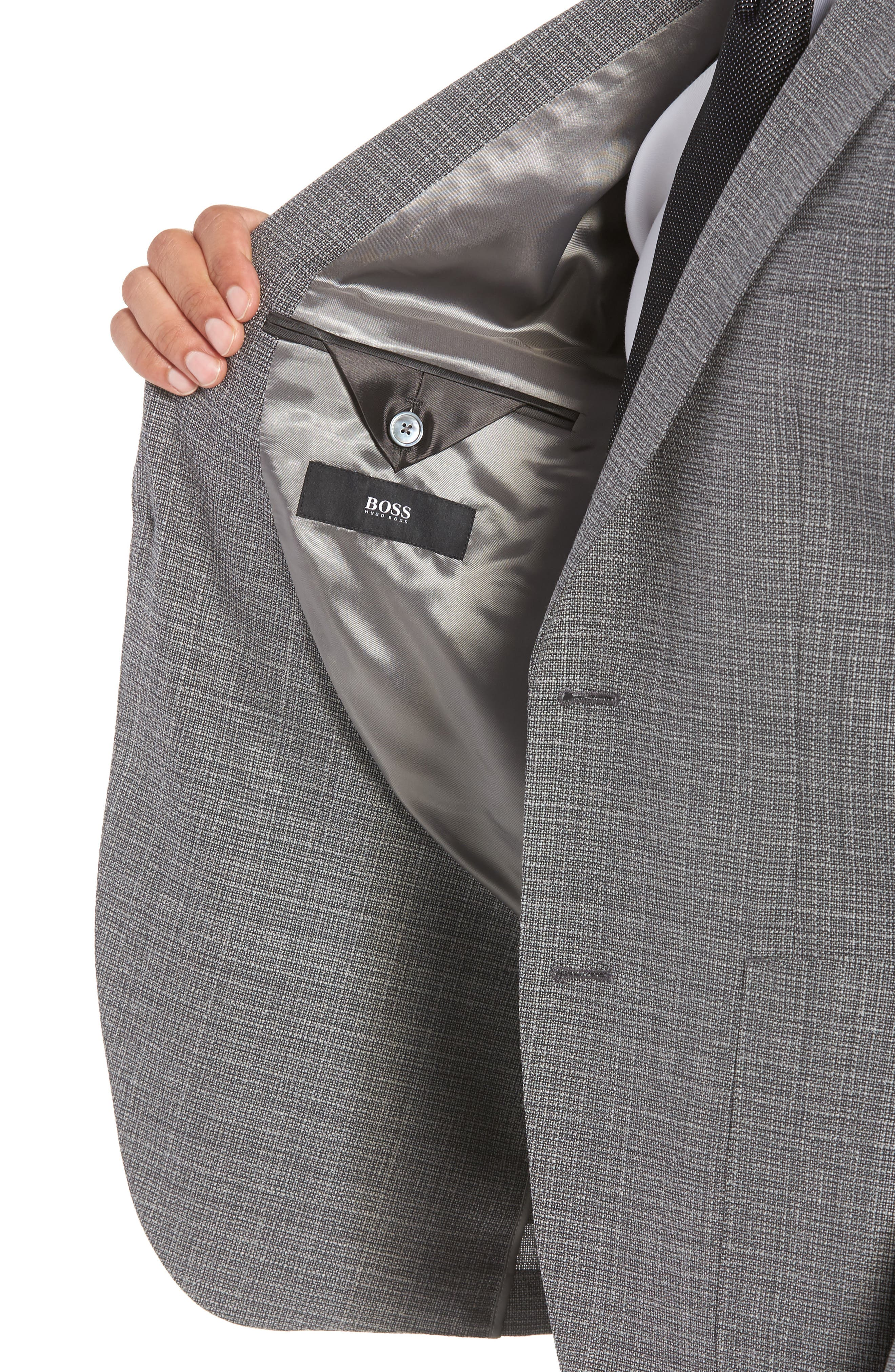 BOSS, Janson Classic Fit Wool Blazer, Alternate thumbnail 4, color, GREY