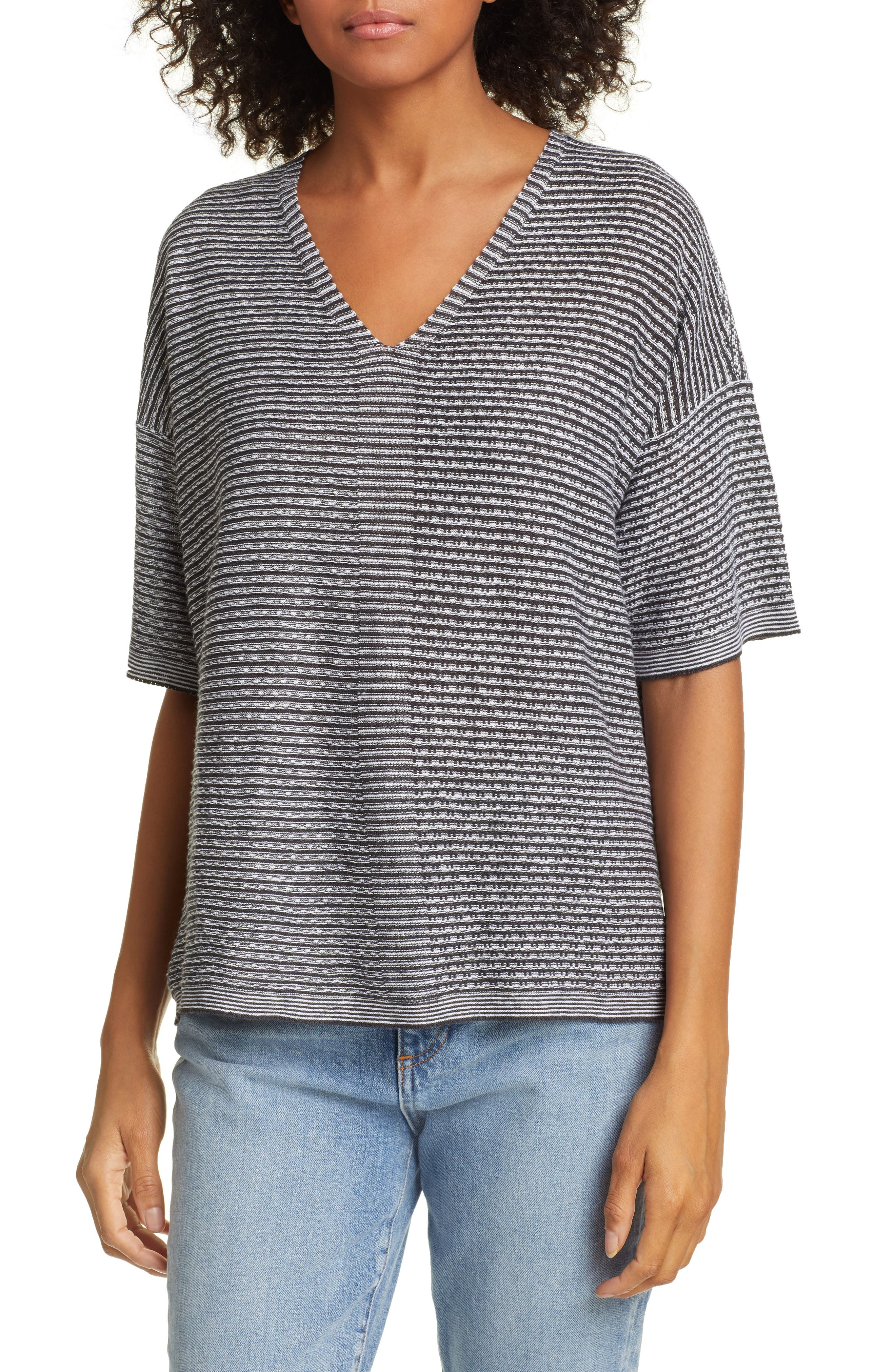 EILEEN FISHER, Organic Linen Jacquard Sweater, Main thumbnail 1, color, IVORY