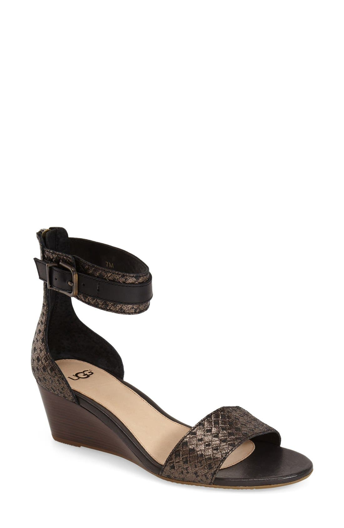 UGG<SUP>®</SUP> 'Char' Ankle Strap Wedge Sandal, Main, color, 002