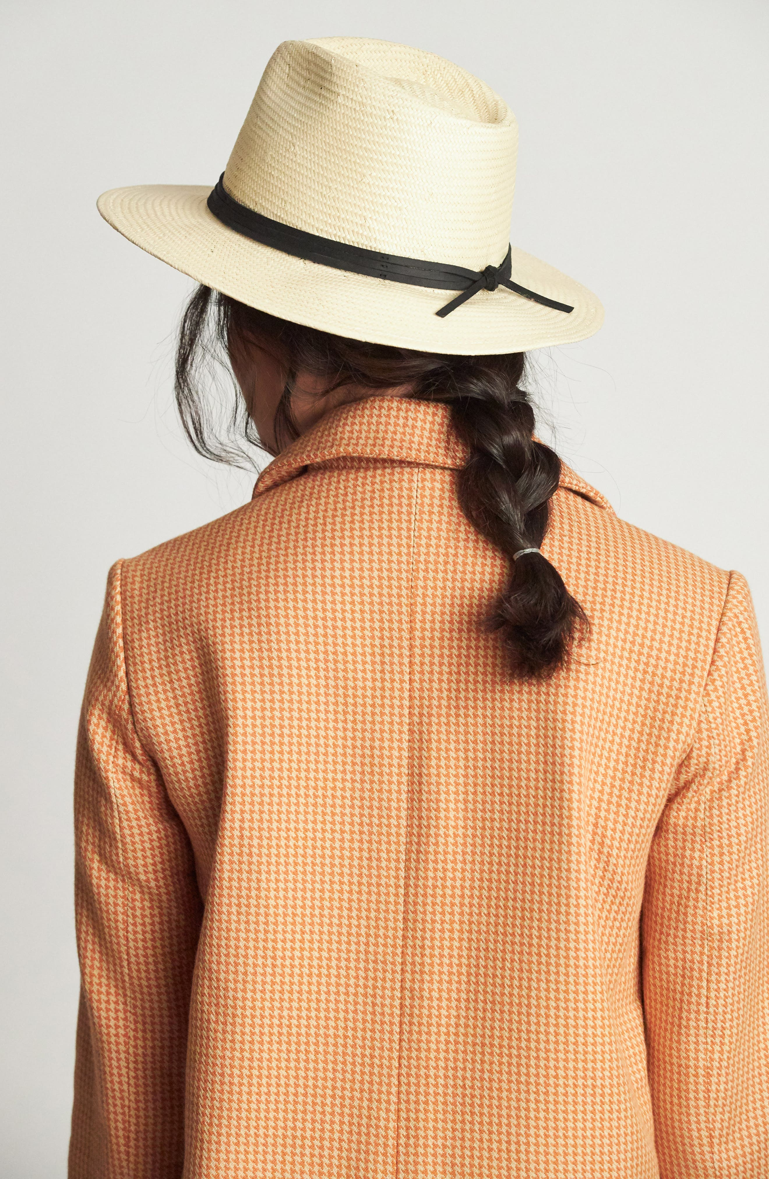 BRIXTON, 'Pacific' Straw Fedora, Alternate thumbnail 3, color, BEIGE