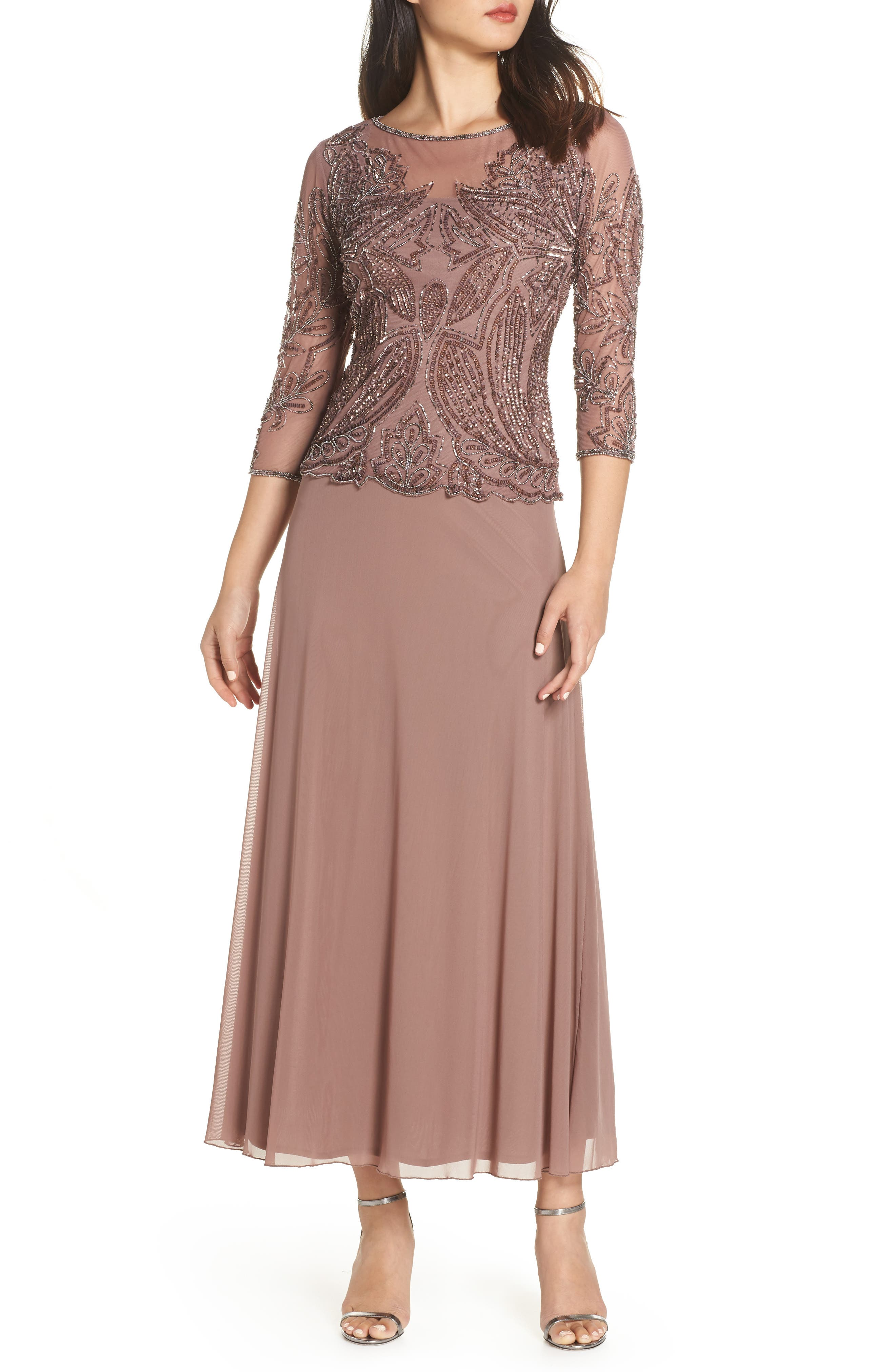PISARRO NIGHTS, Embellished Mesh Gown, Main thumbnail 1, color, MAUVE