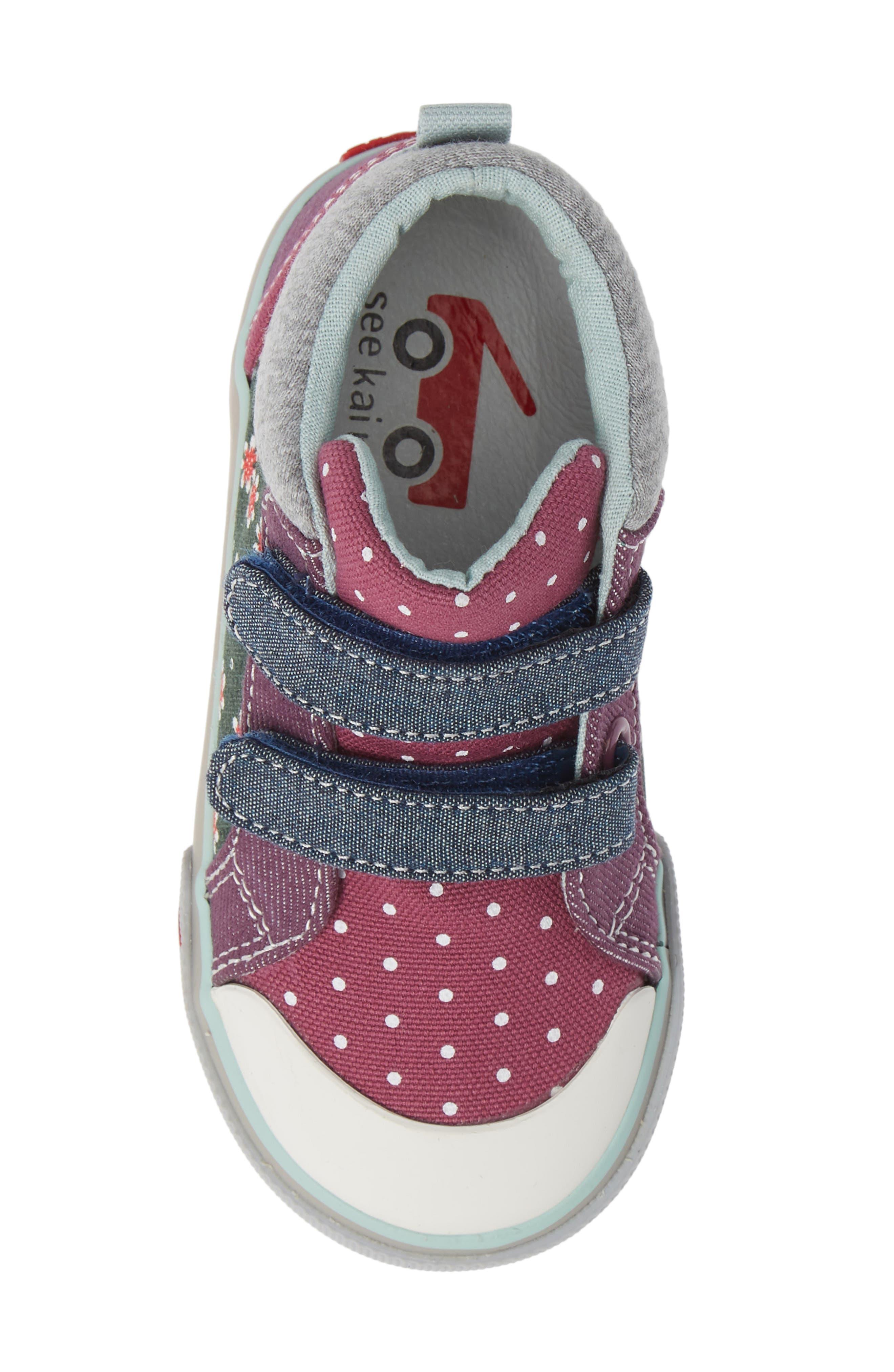 SEE KAI RUN, Kya Sneaker, Alternate thumbnail 5, color, GREEN FLORAL/MULTI