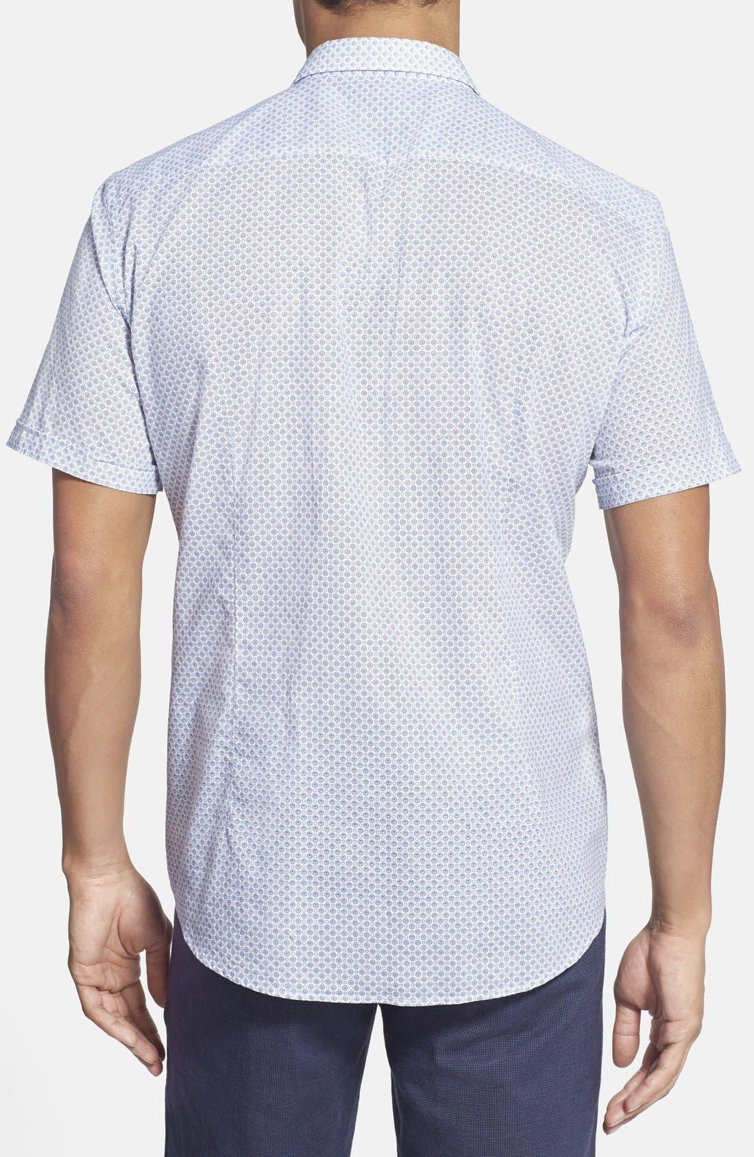 BOSS, 'Marco' Regular Fit Medallion Print Short Sleeve Sport Shirt, Alternate thumbnail 3, color, 431