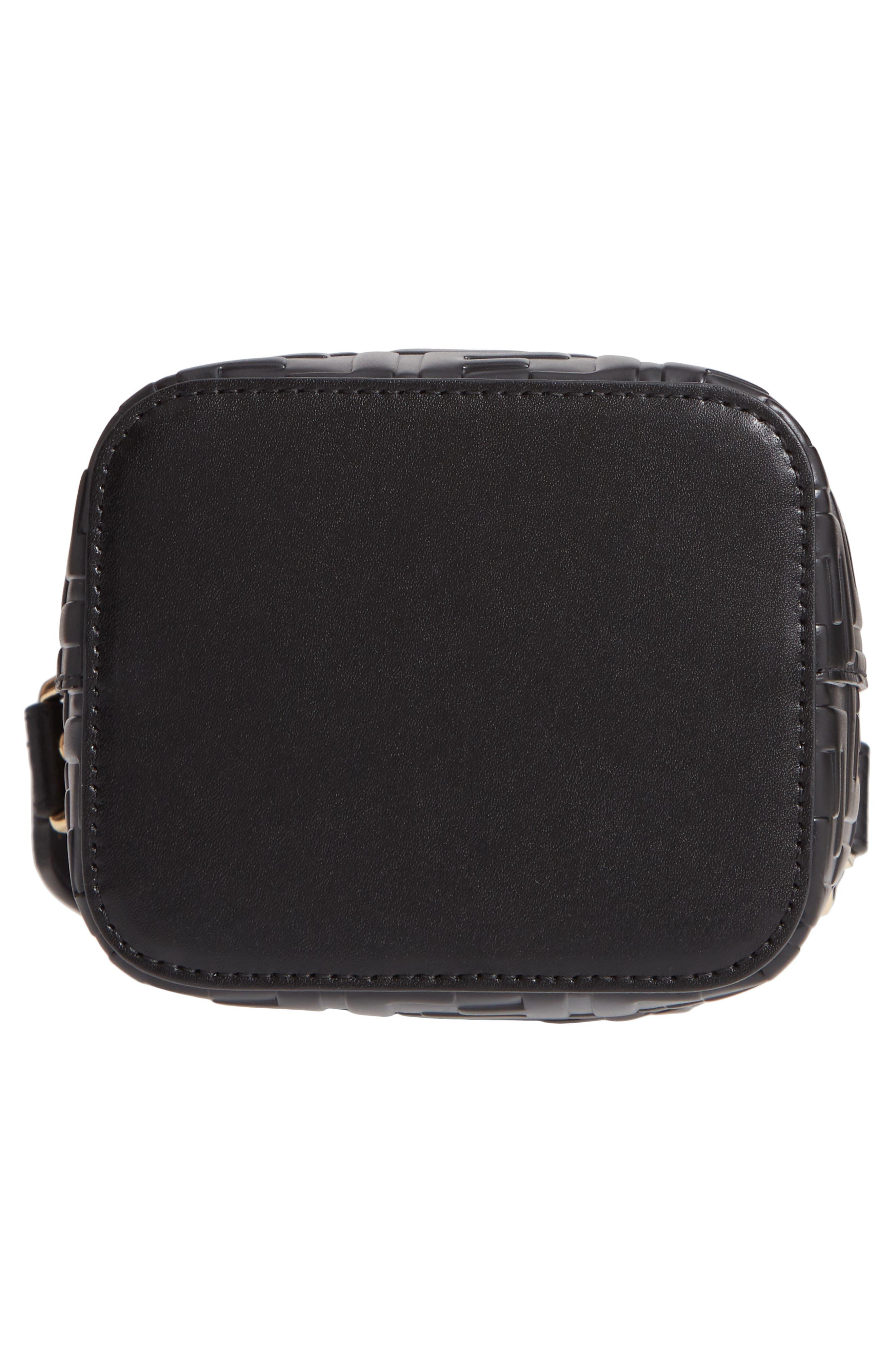 FENDI, Mini Mon Tresor Logo Leather Bucket Bag, Alternate thumbnail 7, color, NERO/ ORO SOFT
